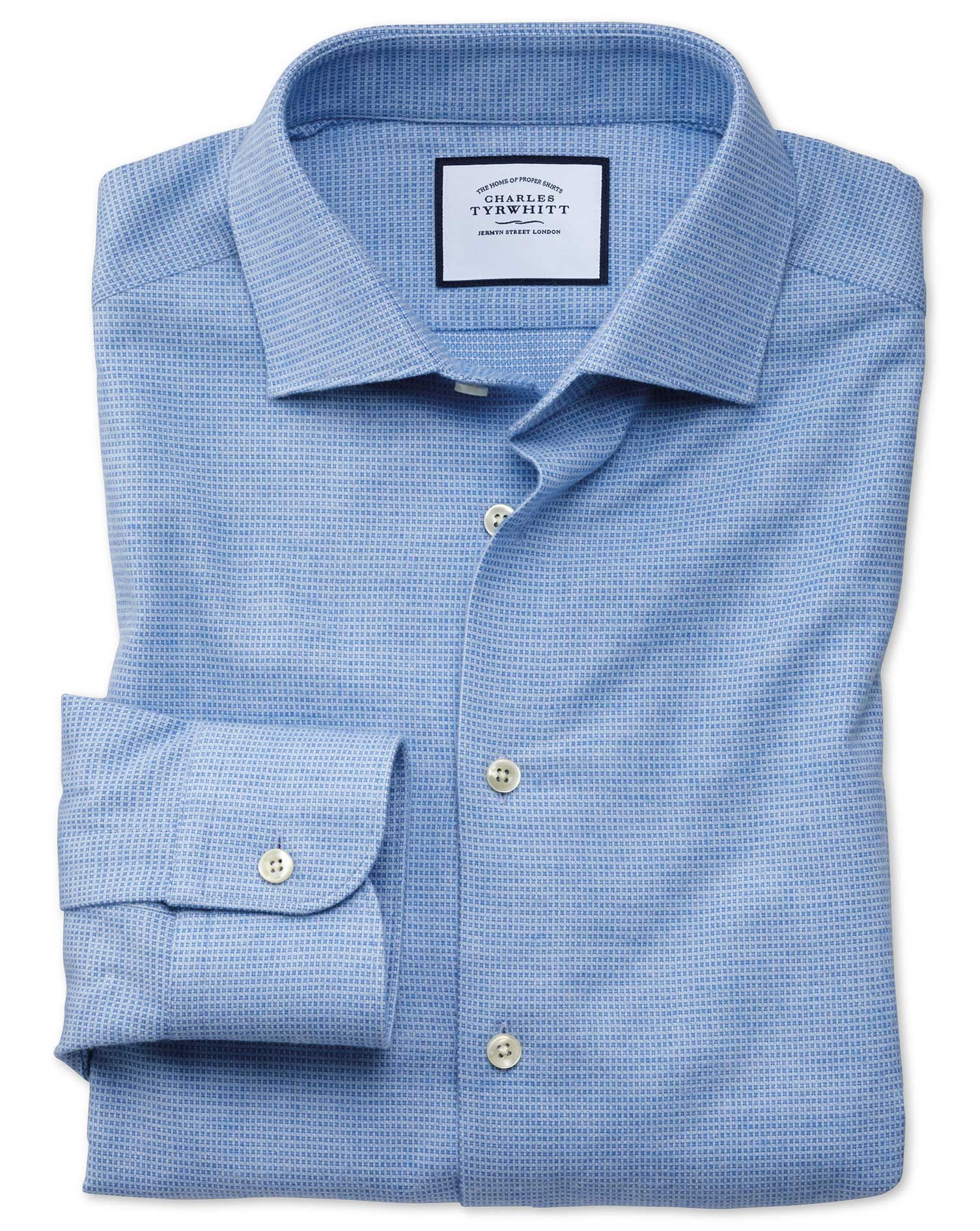 Extra Slim Fit Business Casual Sky Blue Square Pattern Soft Cotton Formal Shirt Single Cuff Size 16.