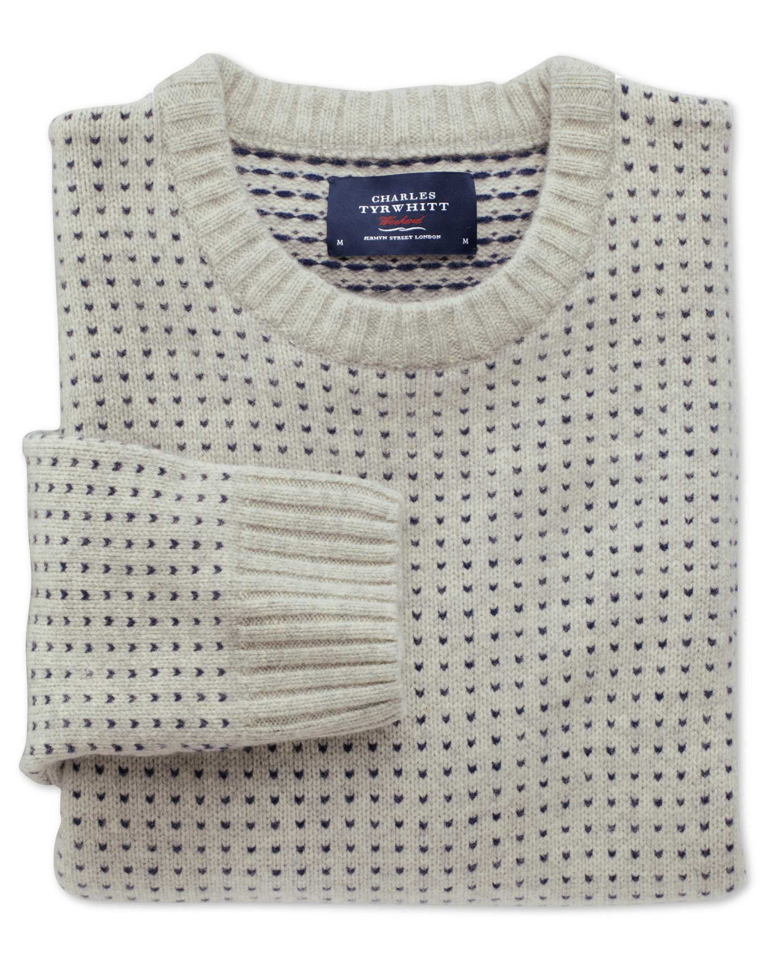 Beige Birdseye Crew Neck Wool Jumper Size XXL by Charles Tyrwhitt