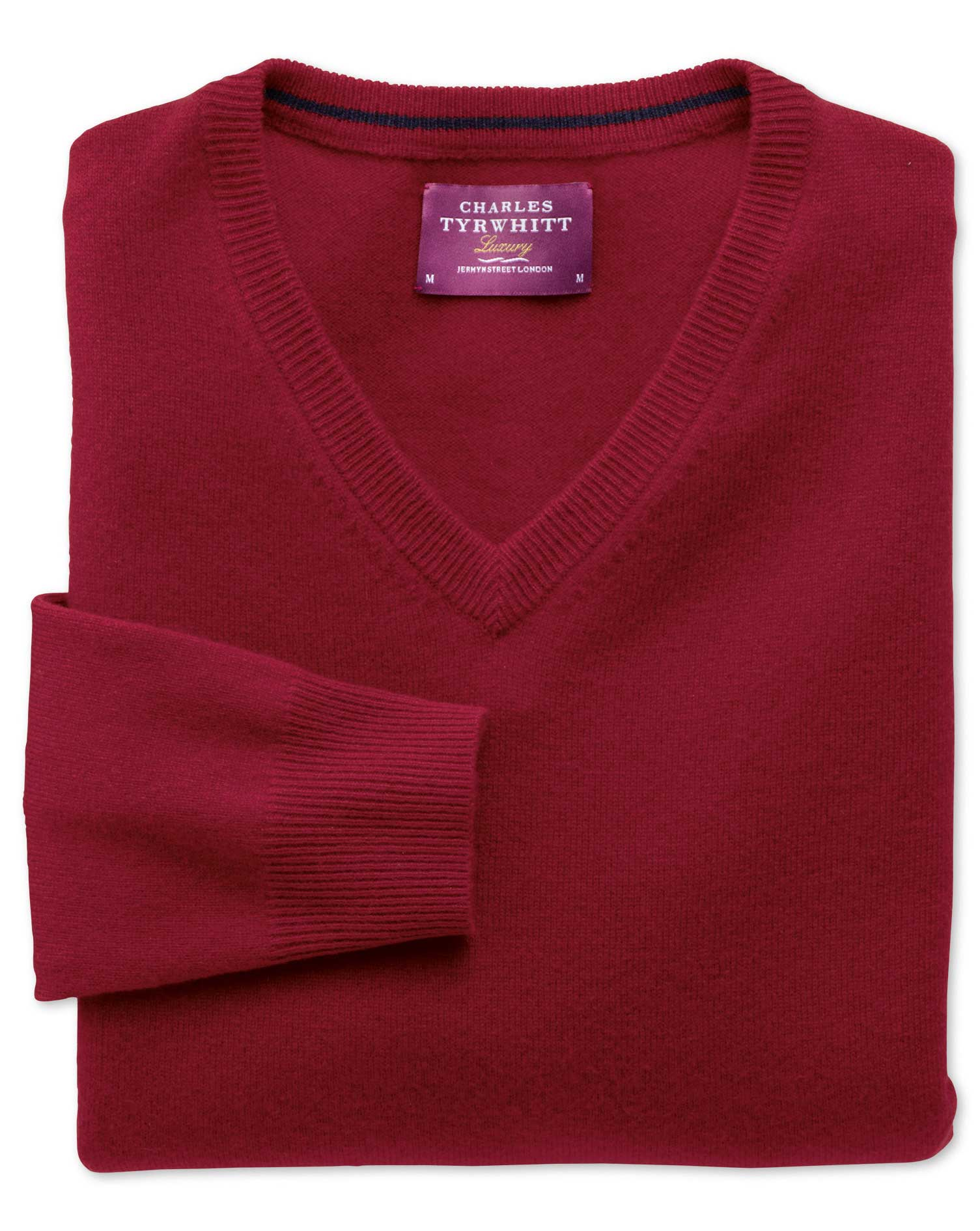 Red Cashmere V-Neck Jumper Size XL by Charles Tyrwhitt