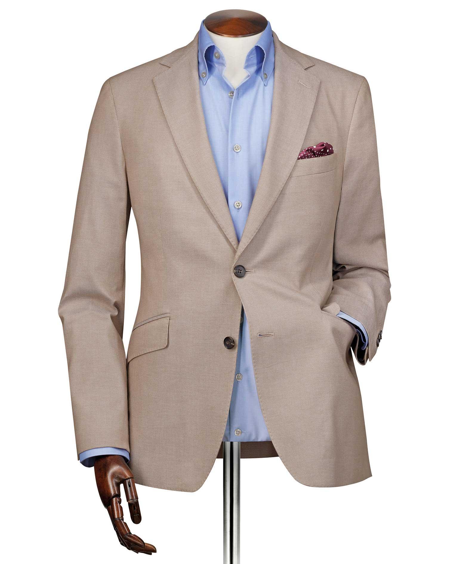 Slim Fit Stone Plain Stretch Cotton Blazer Size 42 Long by Charles Tyrwhitt