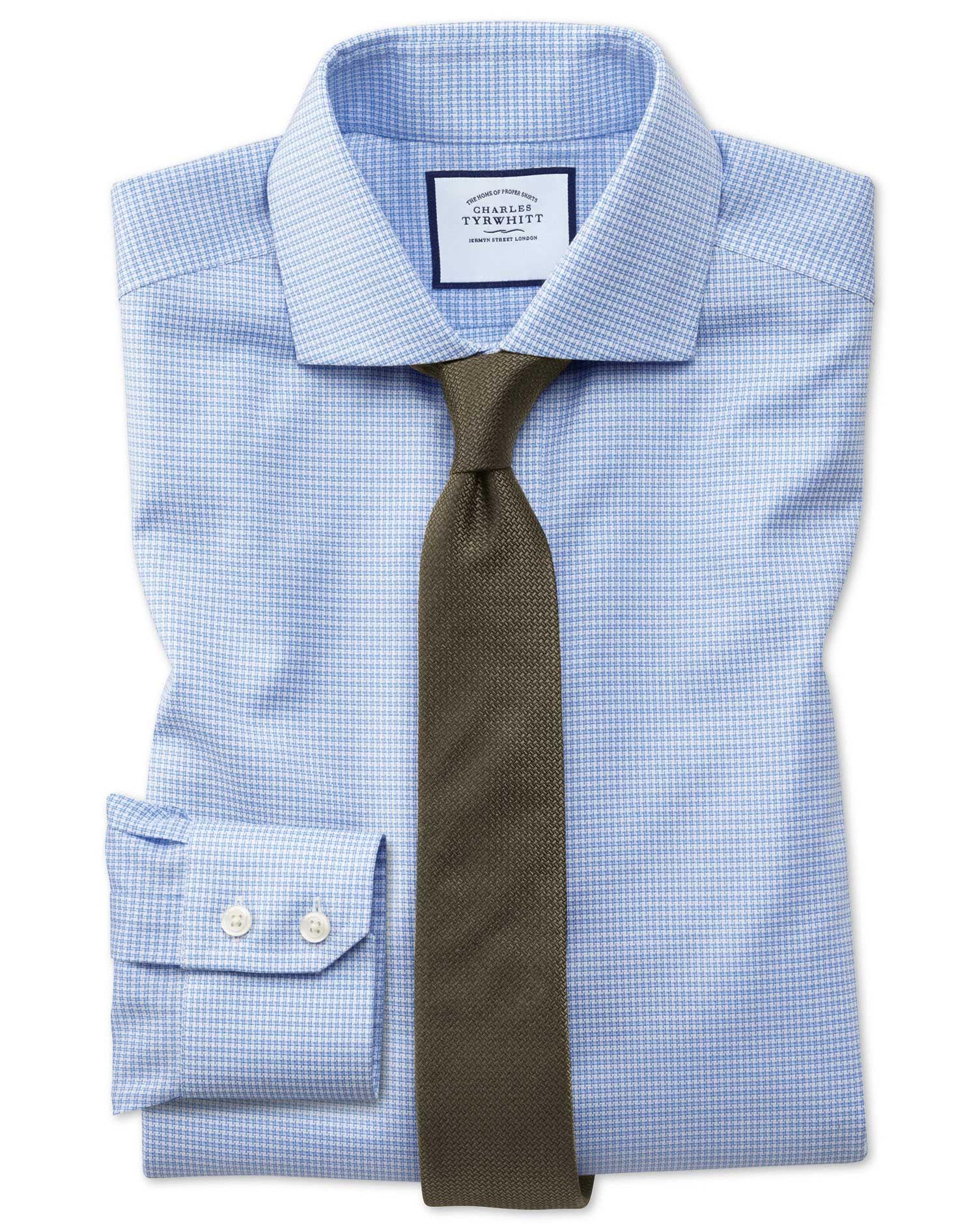 Slim Fit Non-Iron Cutaway Collar Sky Blue Puppytooth Oxford Stretch Cotton Formal Shirt Single Cuff