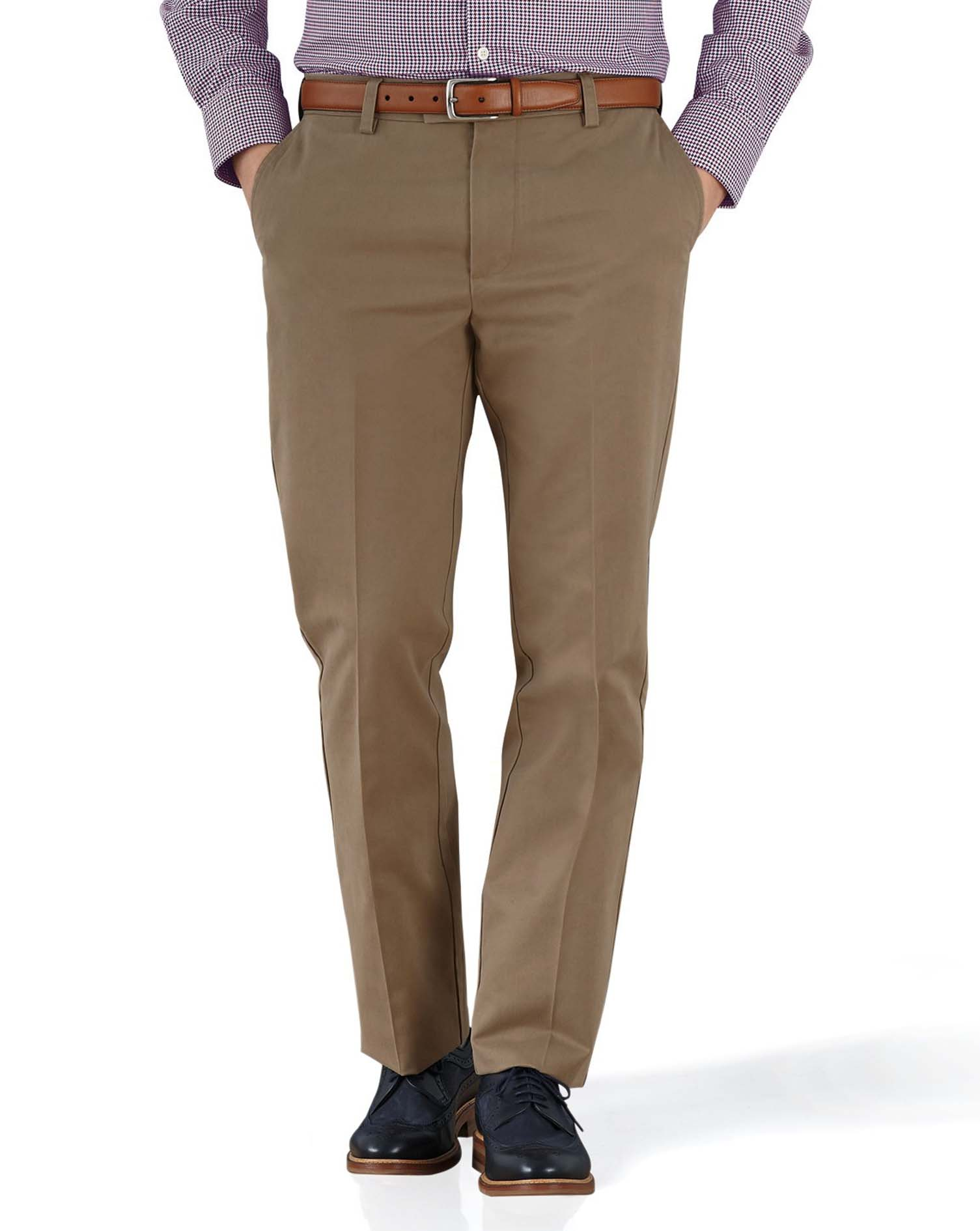 Tan Slim Fit Flat Front Non-Iron Cotton Chino Trousers Size W38 L32 by Charles Tyrwhitt