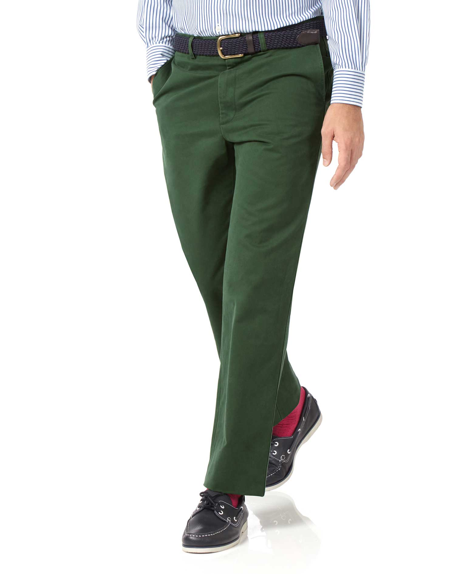 green classic fit flat front washed cotton chino pants size w42 l32 by charles tyrwhitt