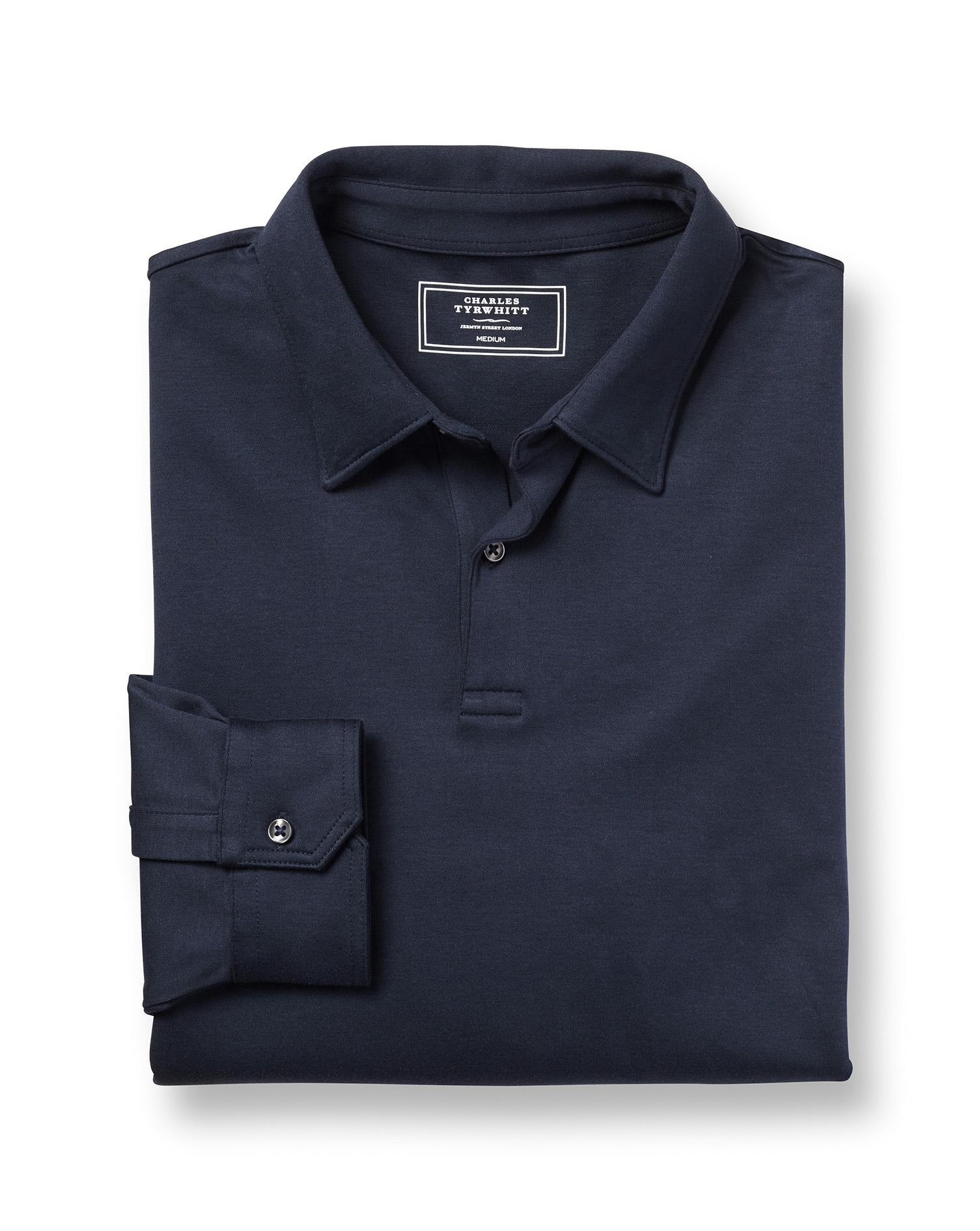 Plain Navy Long Sleeve Jersey Cotton Polo Size Small by Charles Tyrwhitt