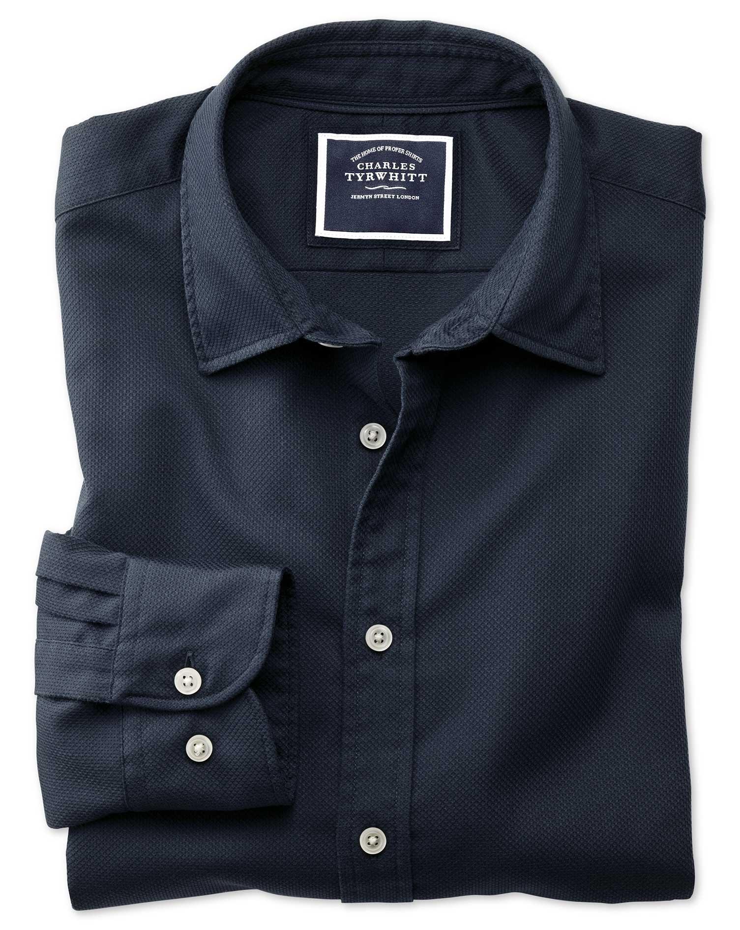 Slim Fit Washed Dark Navy Honeycomb Textured Cotton Shirt Single Cuff Size XL by Charles Tyrwhitt