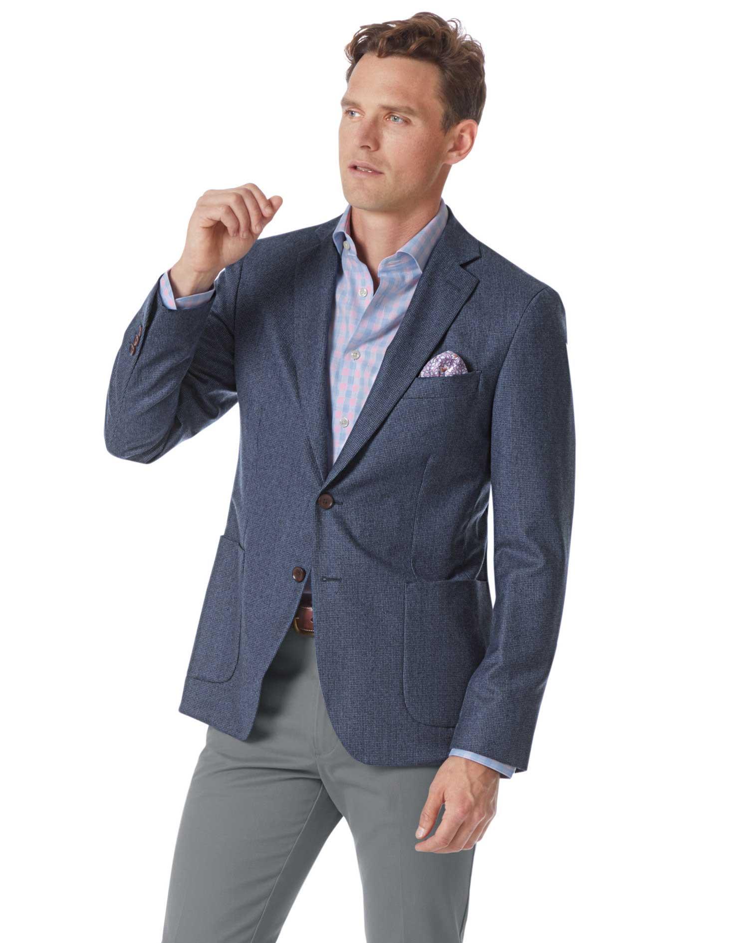 Slim Fit Blue Puppytooth Italian Wool Flannel Blazer Size 46 Regular by Charles Tyrwhitt