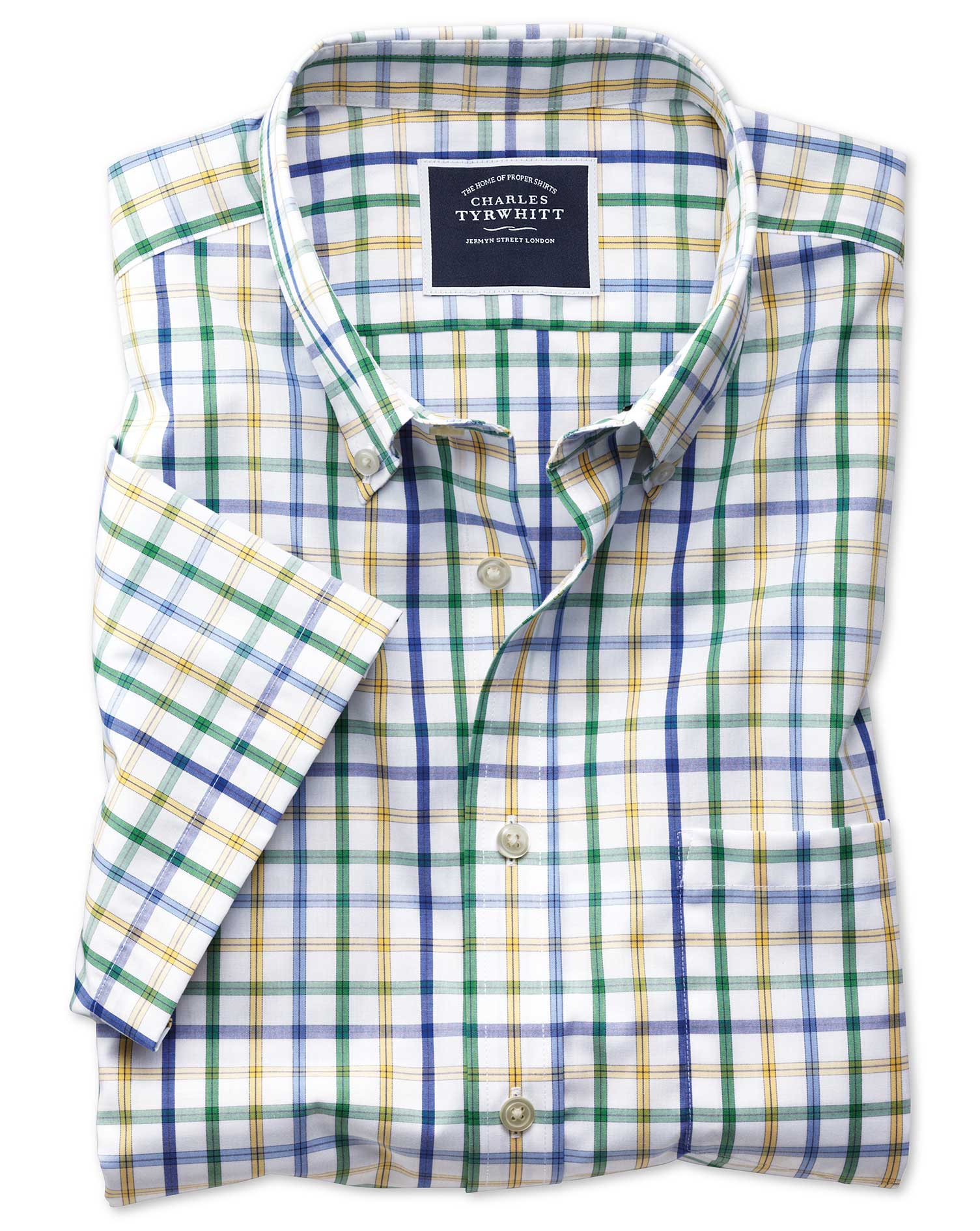 slim fit non-iron green multi check short sleeve cotton casual shirt single cuff size xs by charles tyrwhitt
