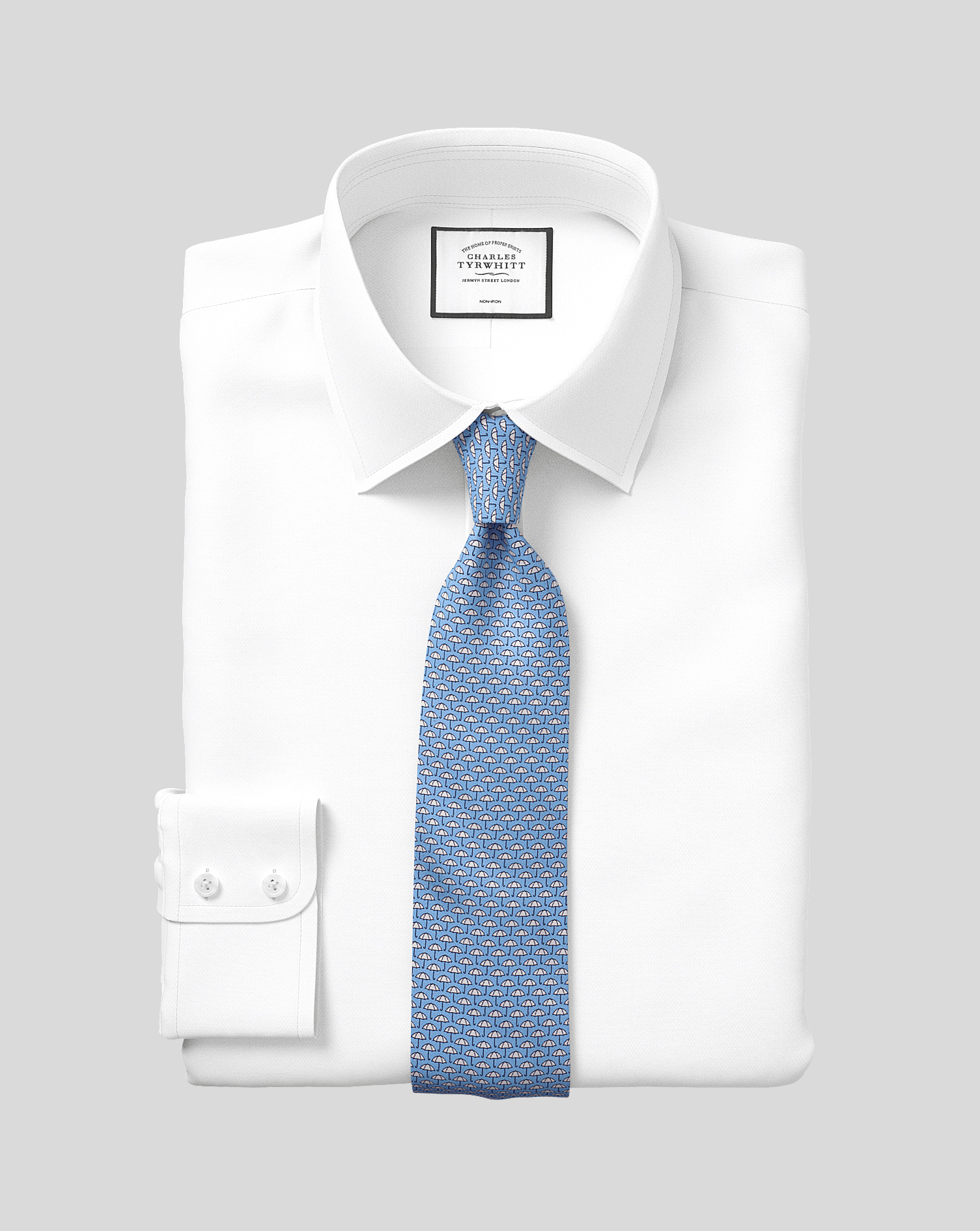 Classic Fit Non-Iron White Royal Panama Cotton Formal Shirt Double Cuff Size 16.5/33 by Charles Tyrw