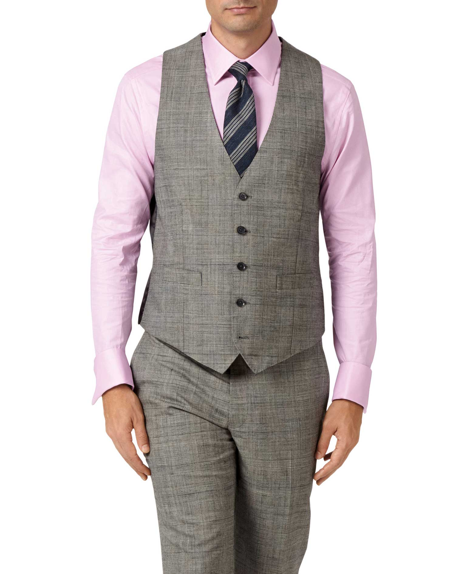 Grey adjustable fit Panama Prince of Wales check business suit vest
