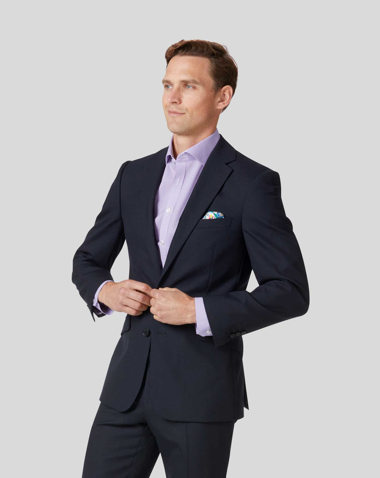 Midnight blue slim fit business suit jacket