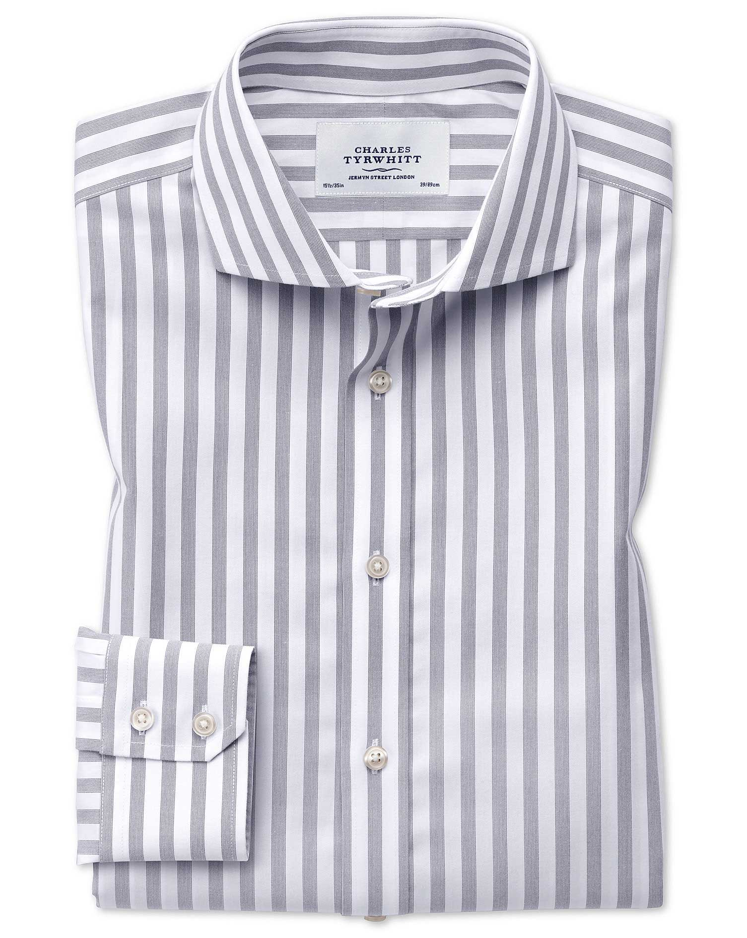 Slim Fit Cutaway Non-Iron Wide Stripe Grey Cotton Formal Shirt Single Cuff Size 16.5/36 by Charles T
