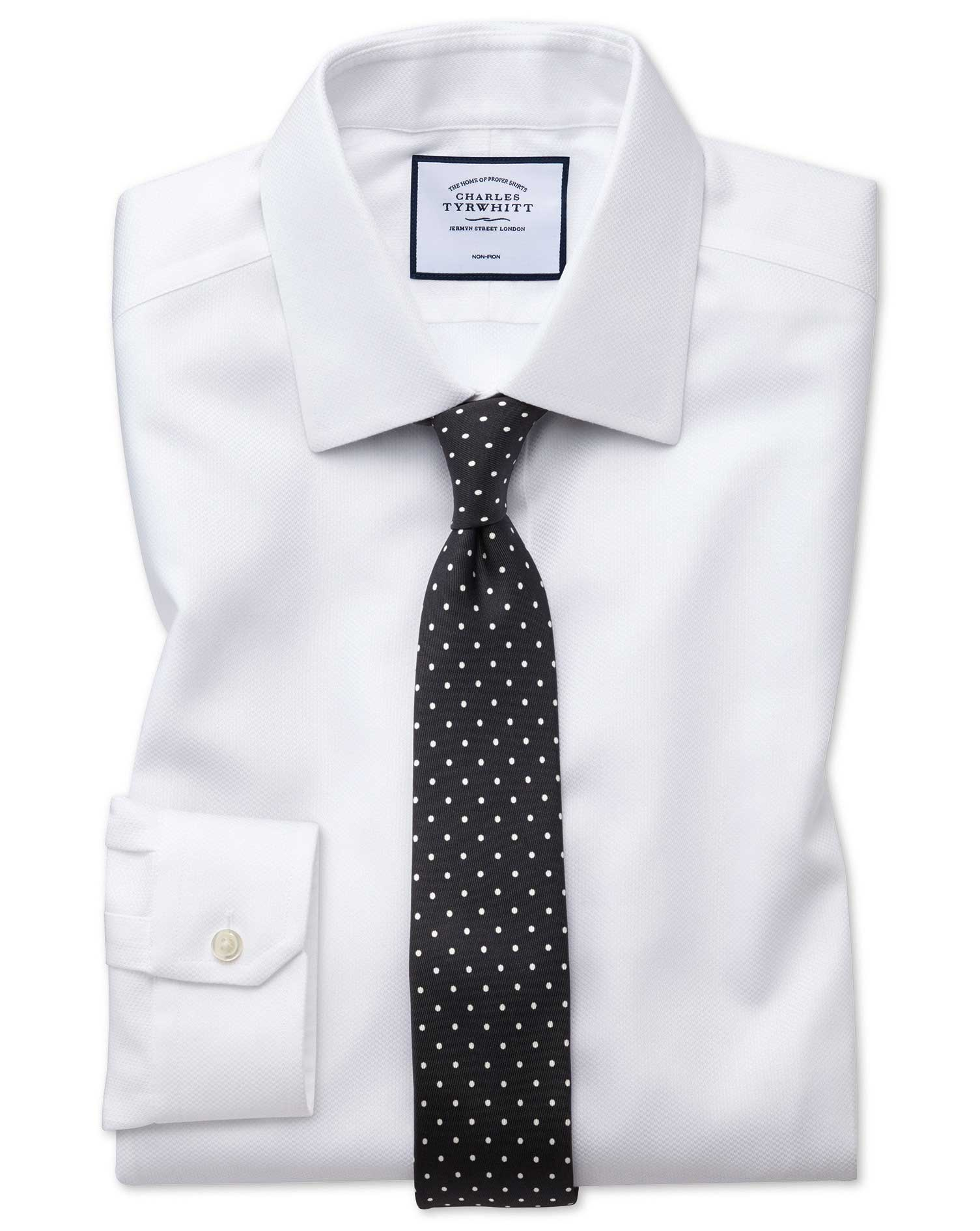 Super Slim Fit Non-Iron White Arrow Weave Cotton Formal Shirt Single Cuff Size 14/33 by Charles Tyrw