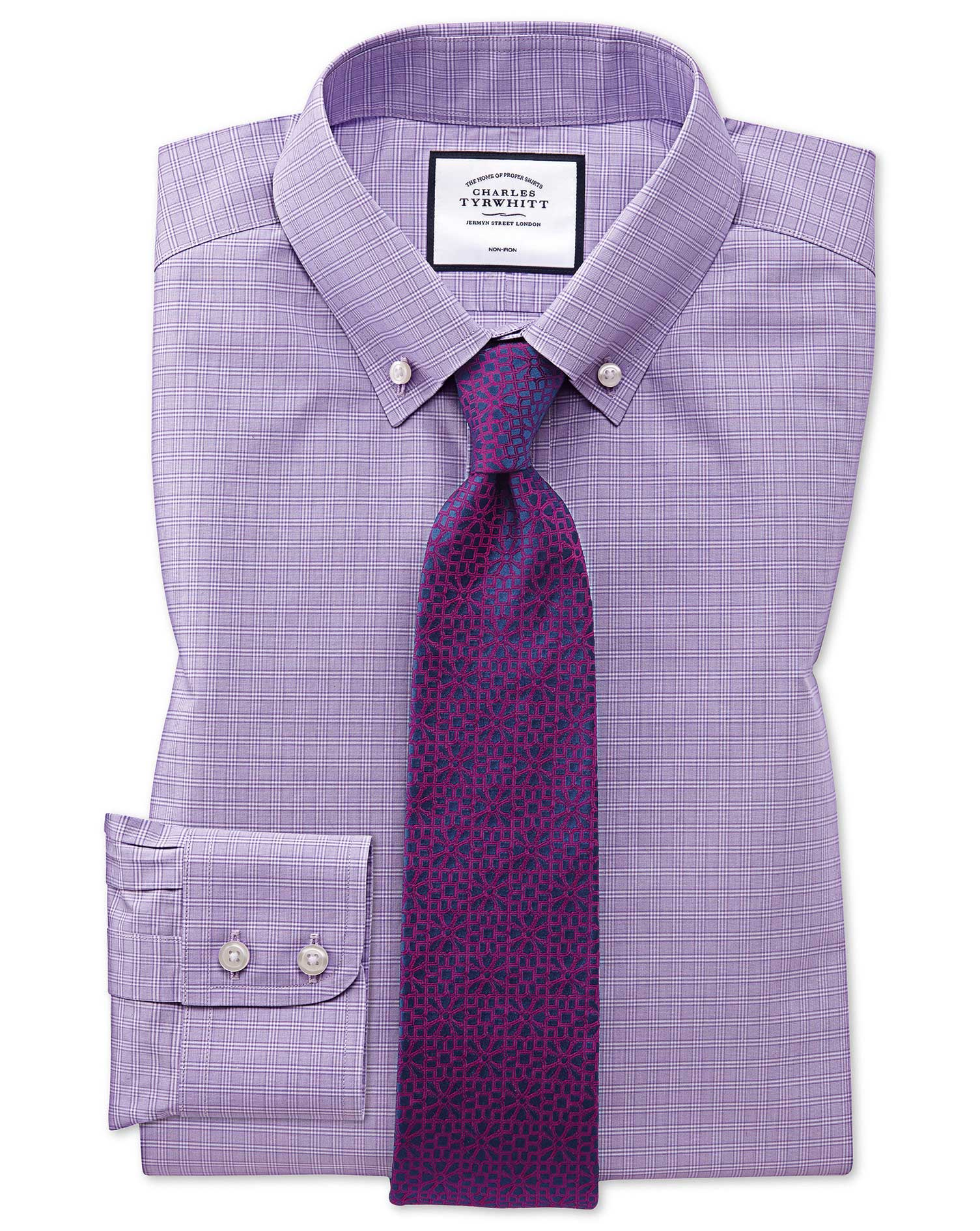 Slim Fit Button-Down Non-Iron Lilac Prince Of Wales Check Cotton Formal Shirt Single Cuff Size 15/35