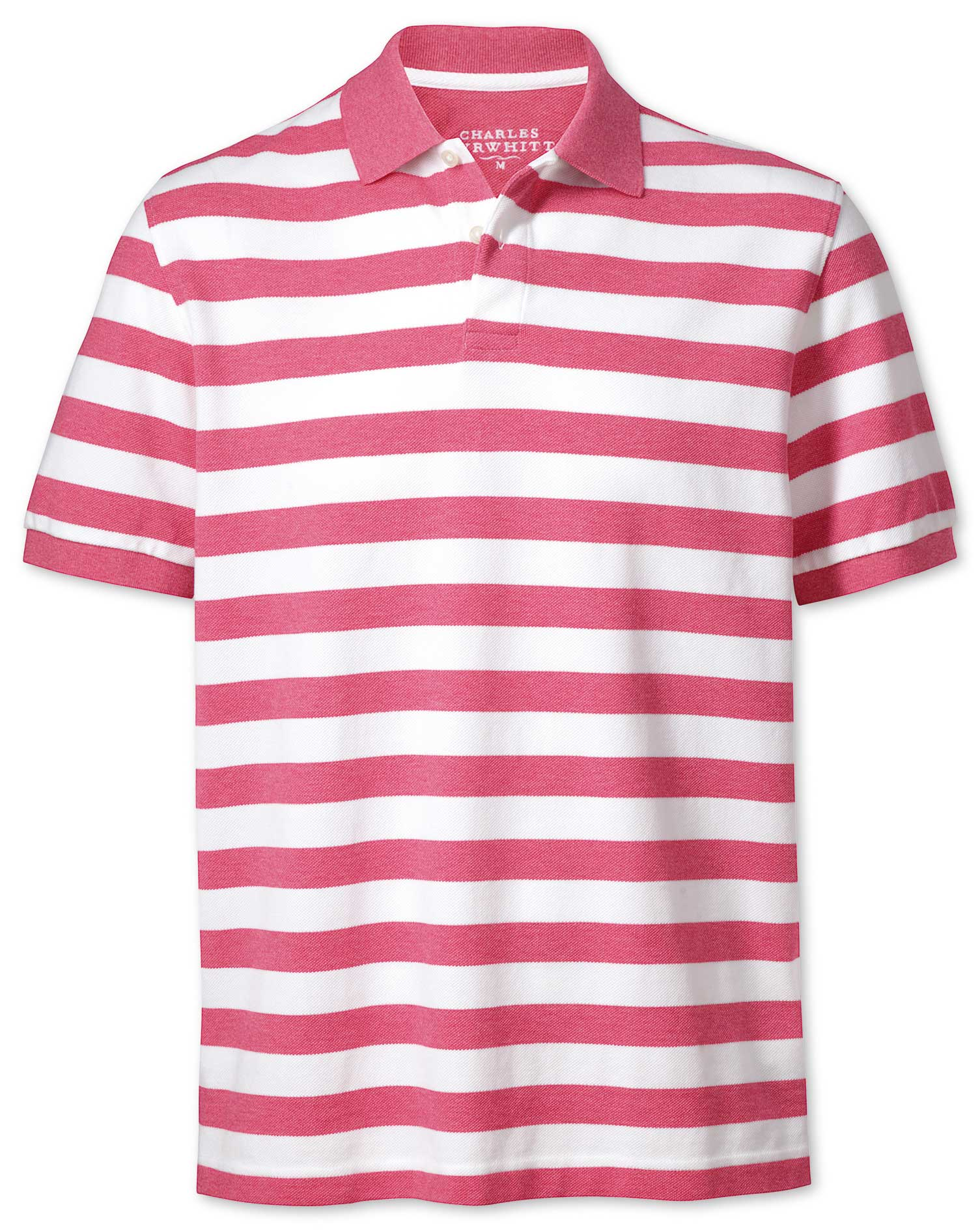 Dark Pink Stripe Pique Cotton Polo Size XS by Charles Tyrwhitt