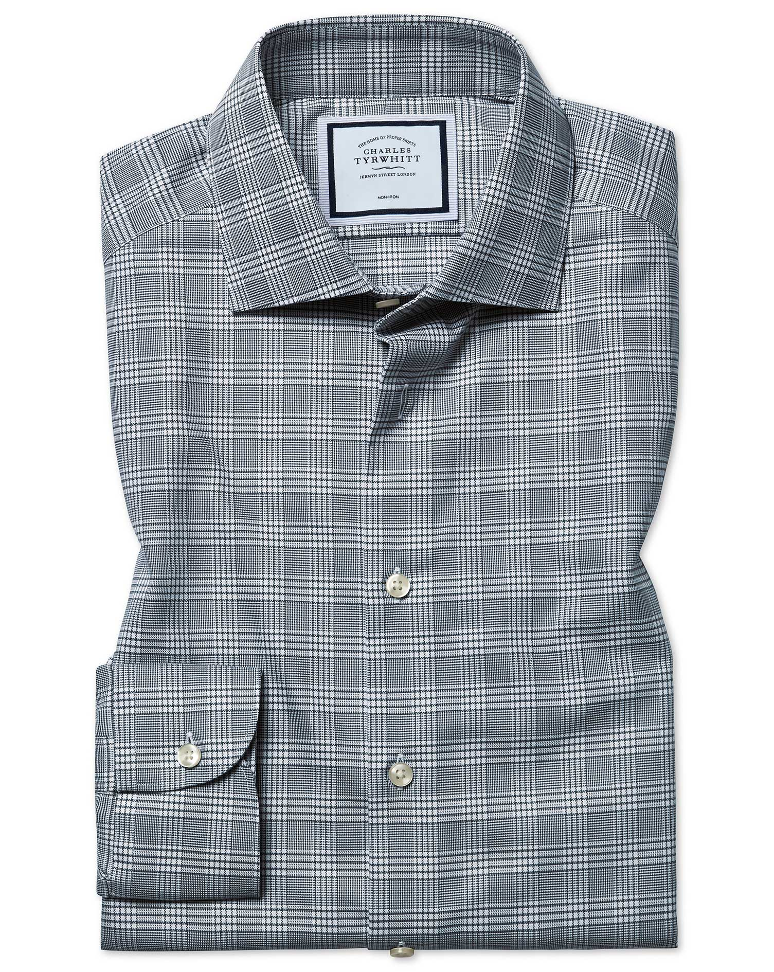 Cotton Slim Fit Non-Iron Natural Stretch Prince Of Wales Check Grey Shirt