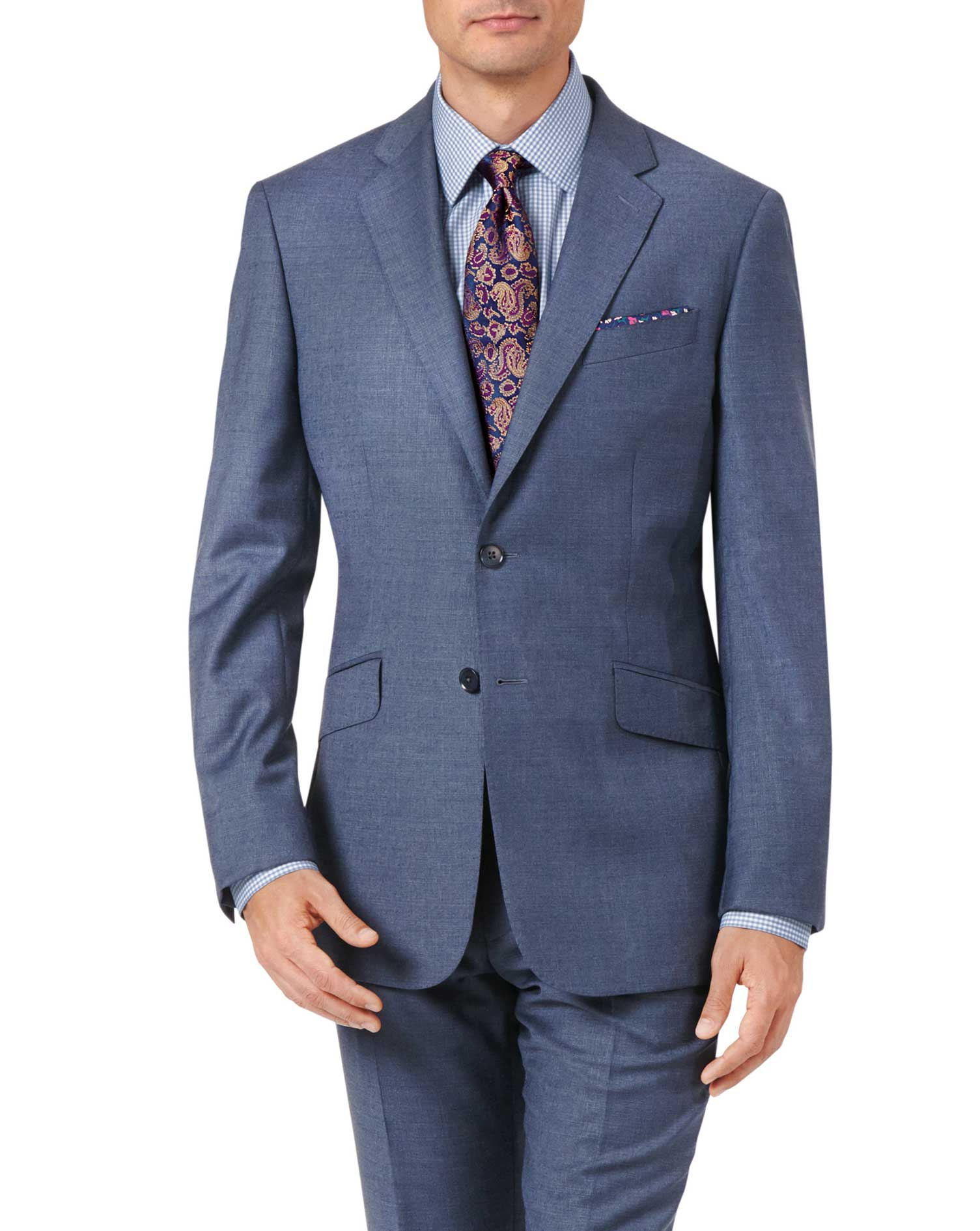 Airforce Blue Slim Fit Cross Hatch Weave Italian Suit Wool Jacket Size 38 Short by Charles Tyrwhitt