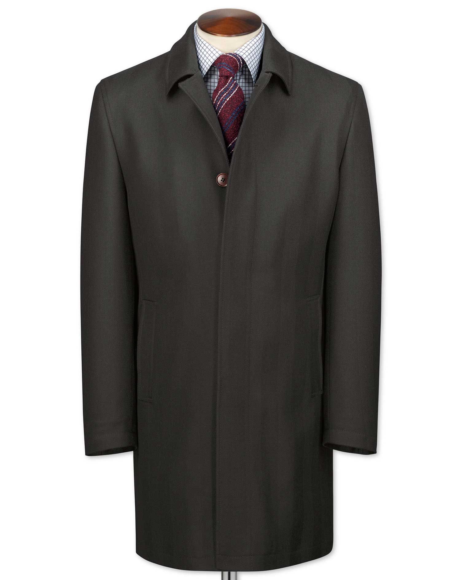 Charcoal Herringbone Wool Car Wool Coat Size 36 Regular by Charles Tyrwhitt