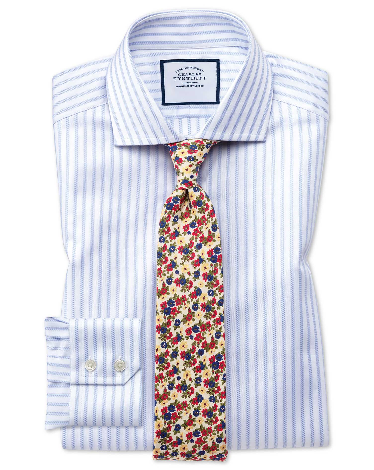 Slim Fit Cutaway Textured Stripe Blue and White Cotton Formal Shirt Single Cuff Size 15.5/34 by Char