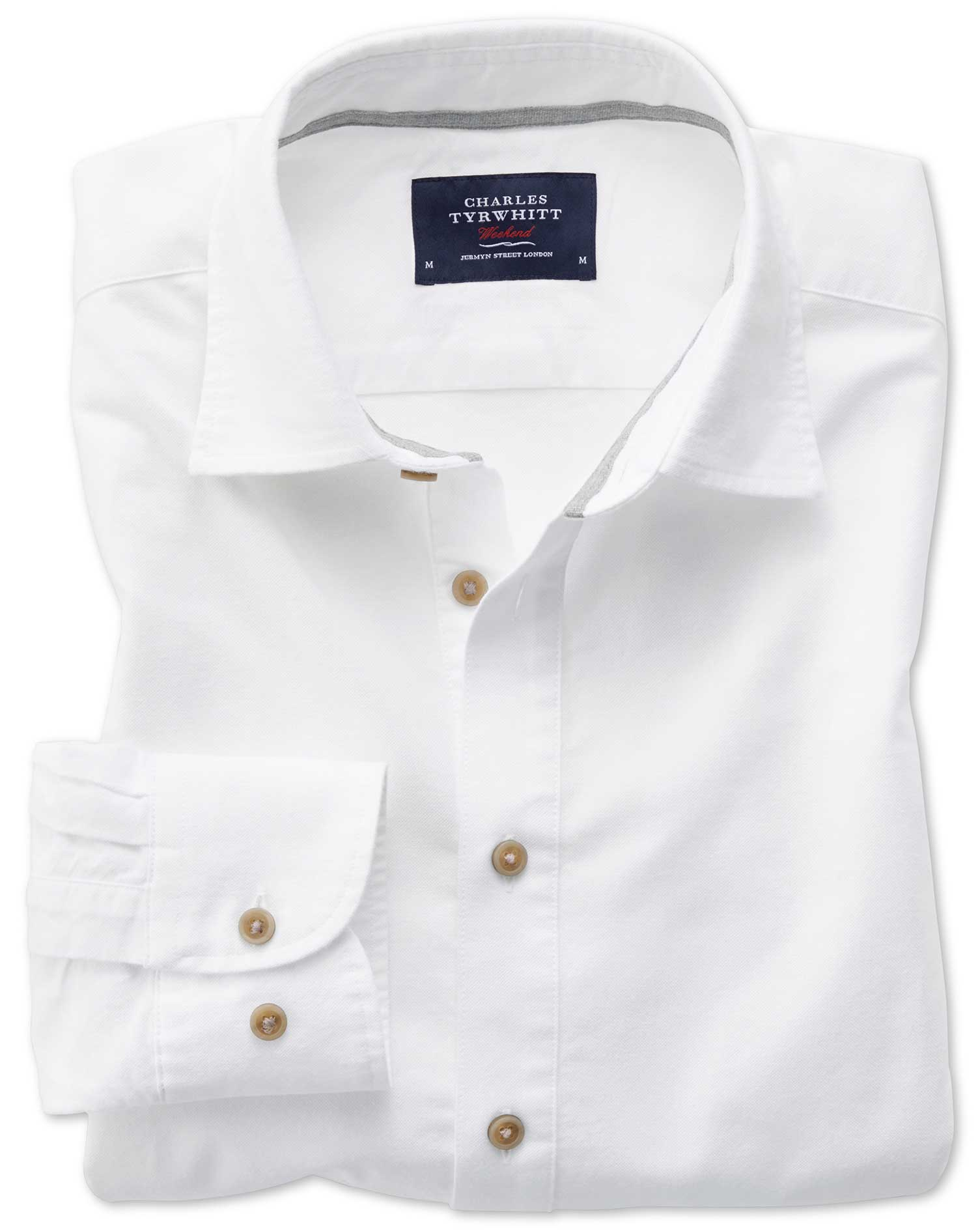 Classic Fit Popover Off-White Cotton Shirt Single Cuff Size Large by Charles Tyrwhitt