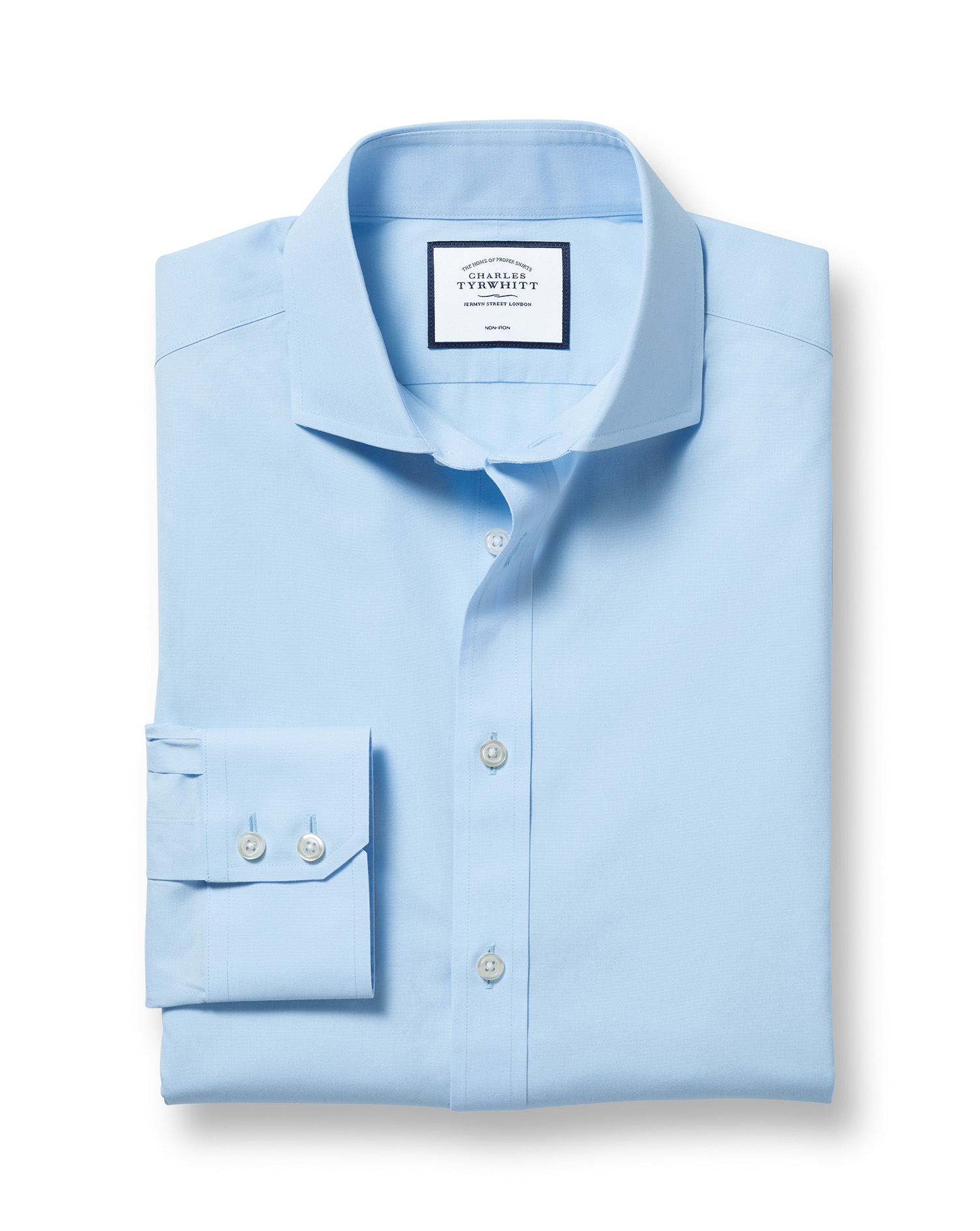 Extra Slim Fit Sky Blue Non-Iron Poplin Cutaway Cotton Formal Shirt Single Cuff Size 16/34 by Charle