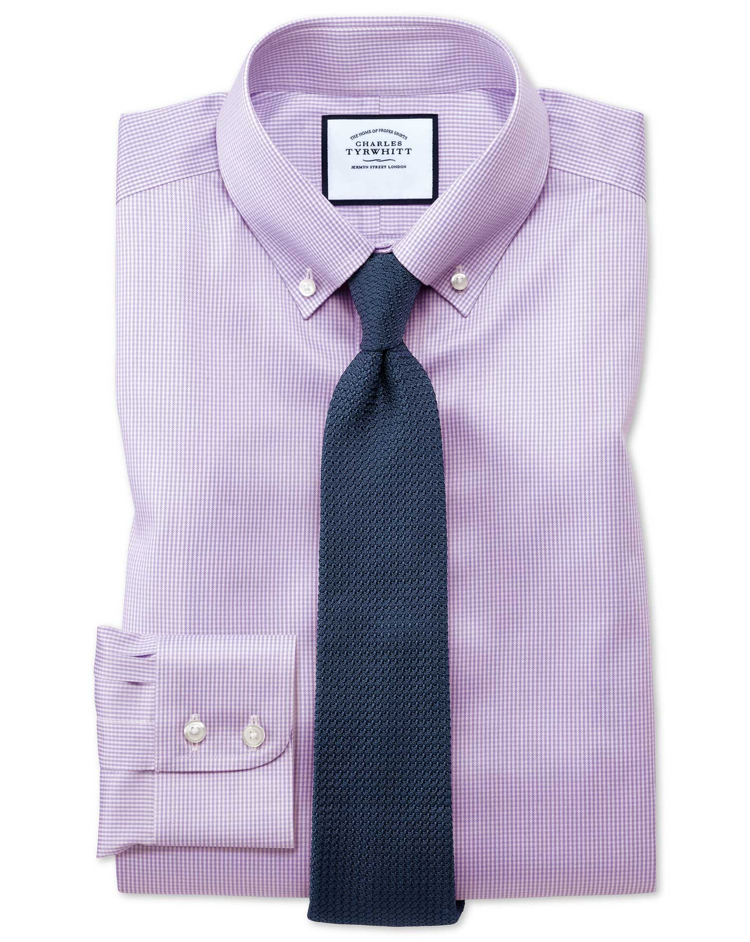 Classic Fit Button-Down Non-Iron Twill Puppytooth Lilac Cotton Formal Shirt Single Cuff Size 15.5/35