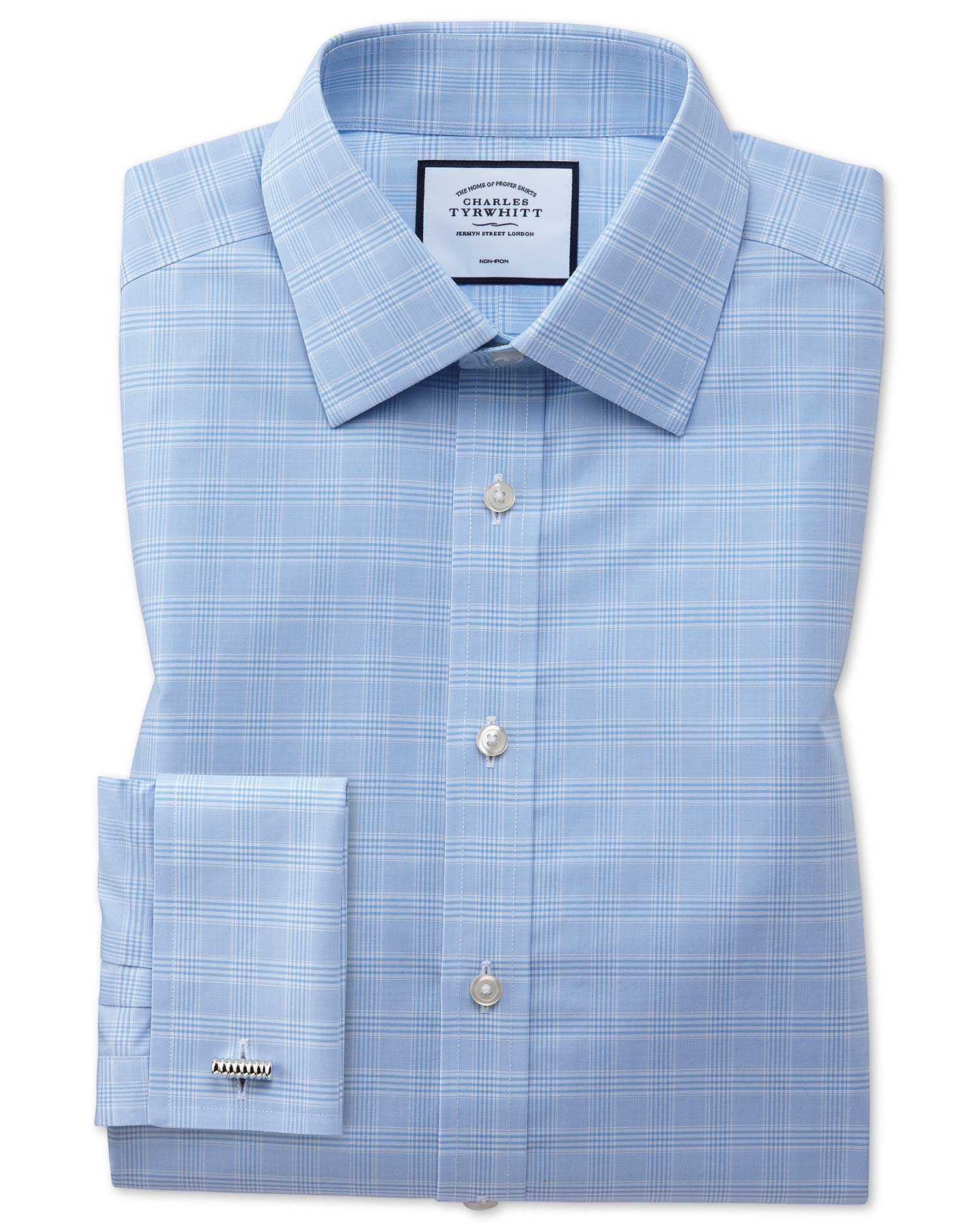 Extra Slim Fit Non-Iron Sky Blue Prince Of Wales Check Cotton Formal Shirt Single Cuff Size 15/32 by