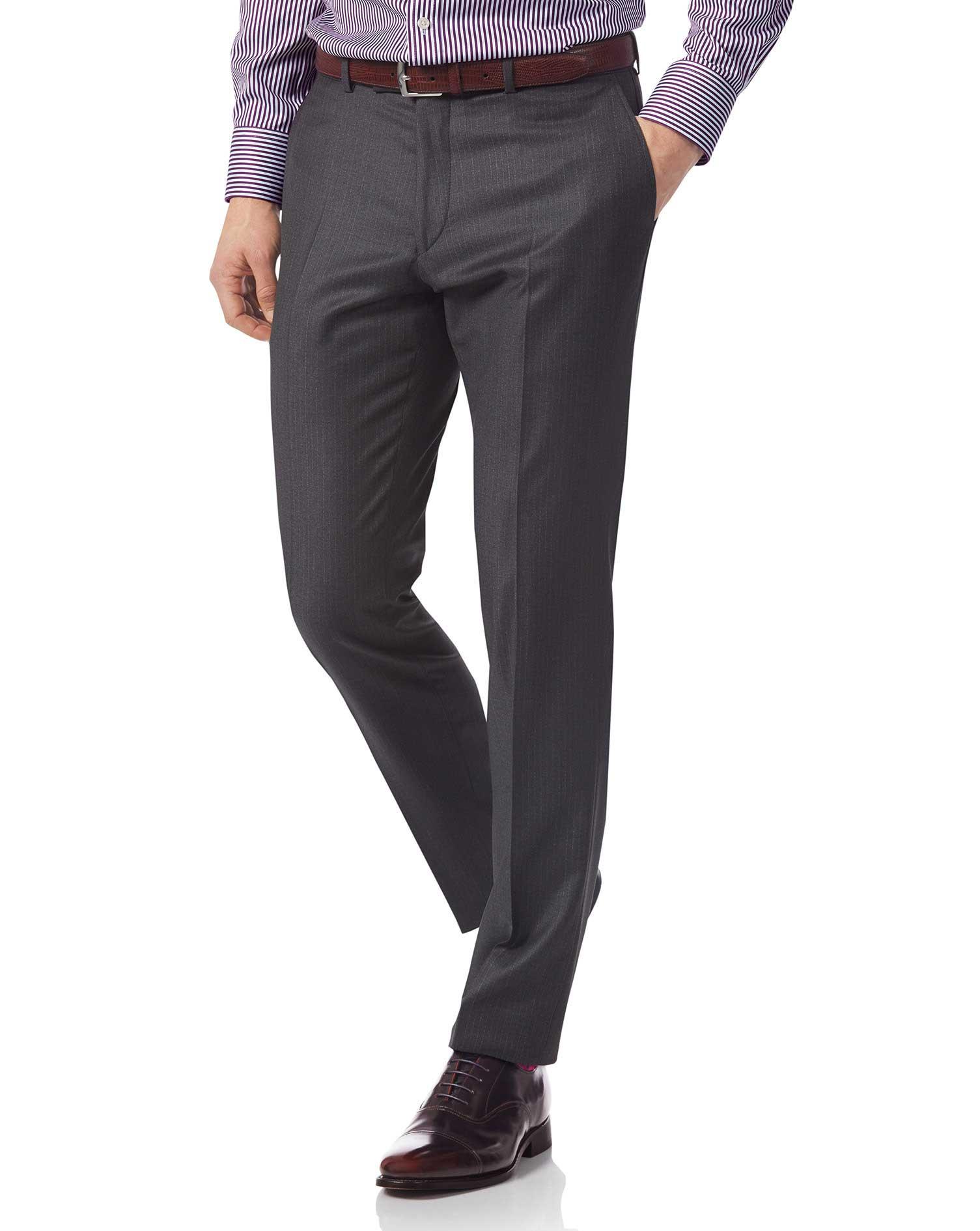 Grey Slim Fit Italian Stripe Suit Trousers Size W34 L38 by Charles Tyrwhitt