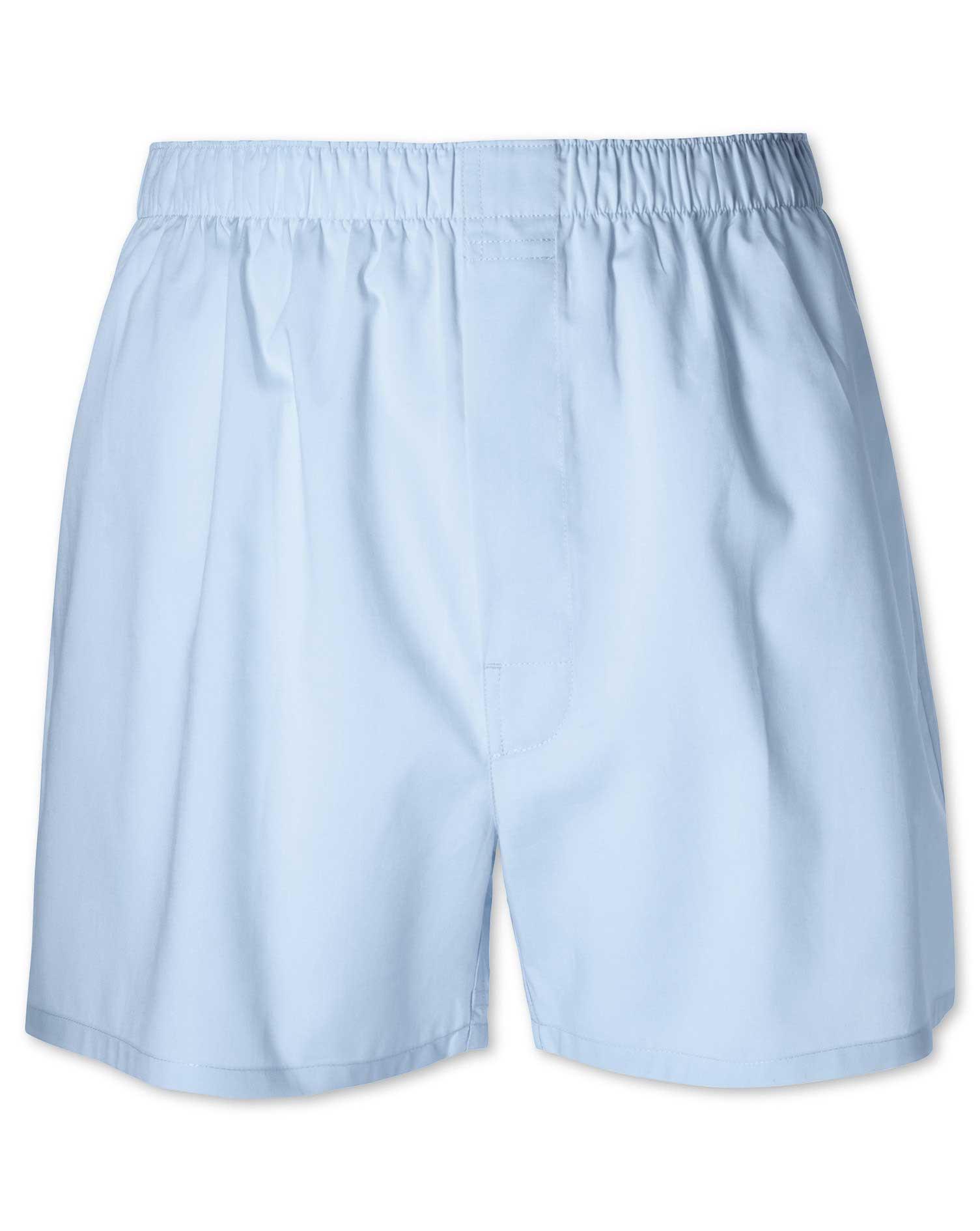 Plain Sky Blue Woven Boxers Size XXL by Charles Tyrwhitt