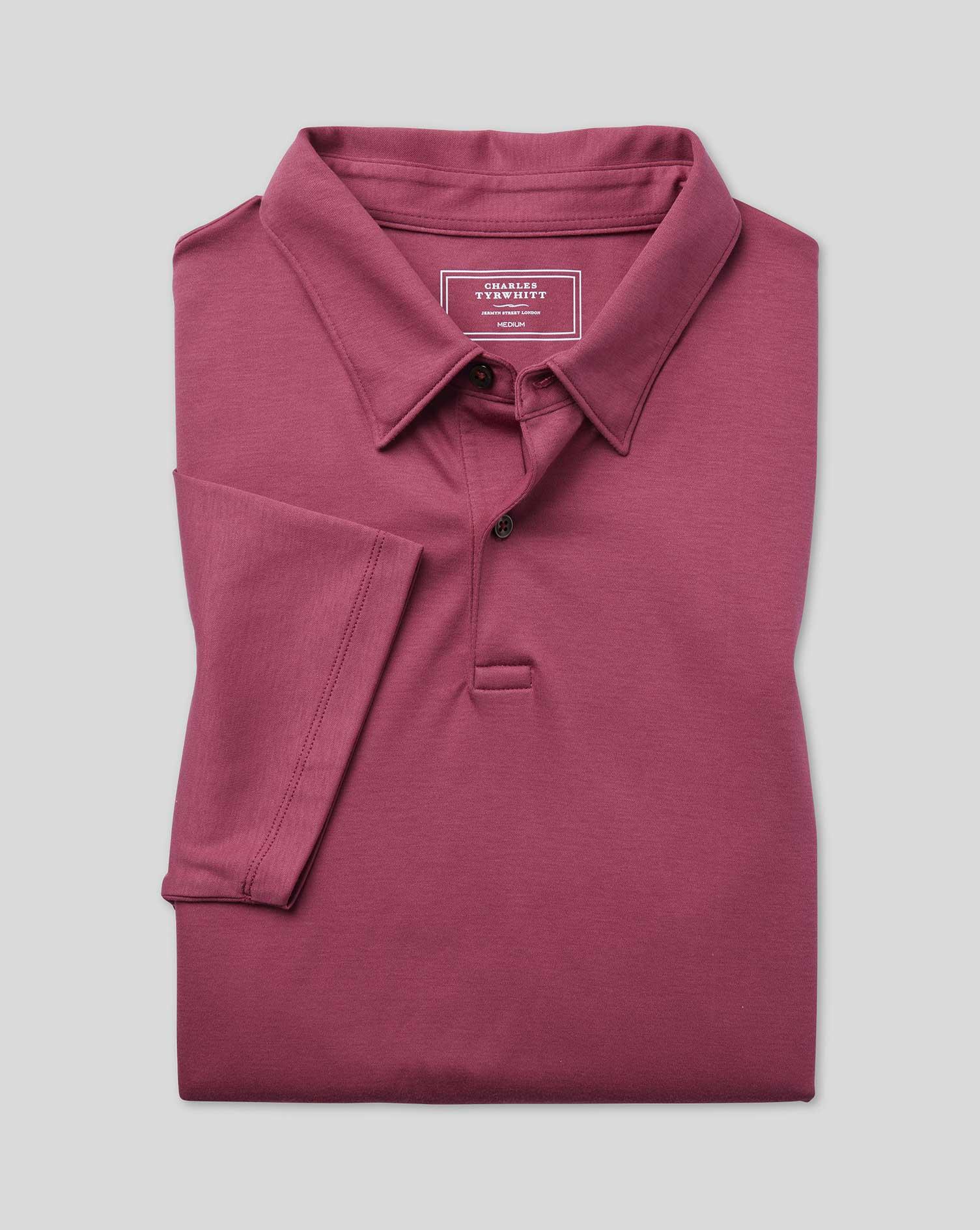 Polo Smart En Jersey - Rose - XL par Charles Tyrwhitt