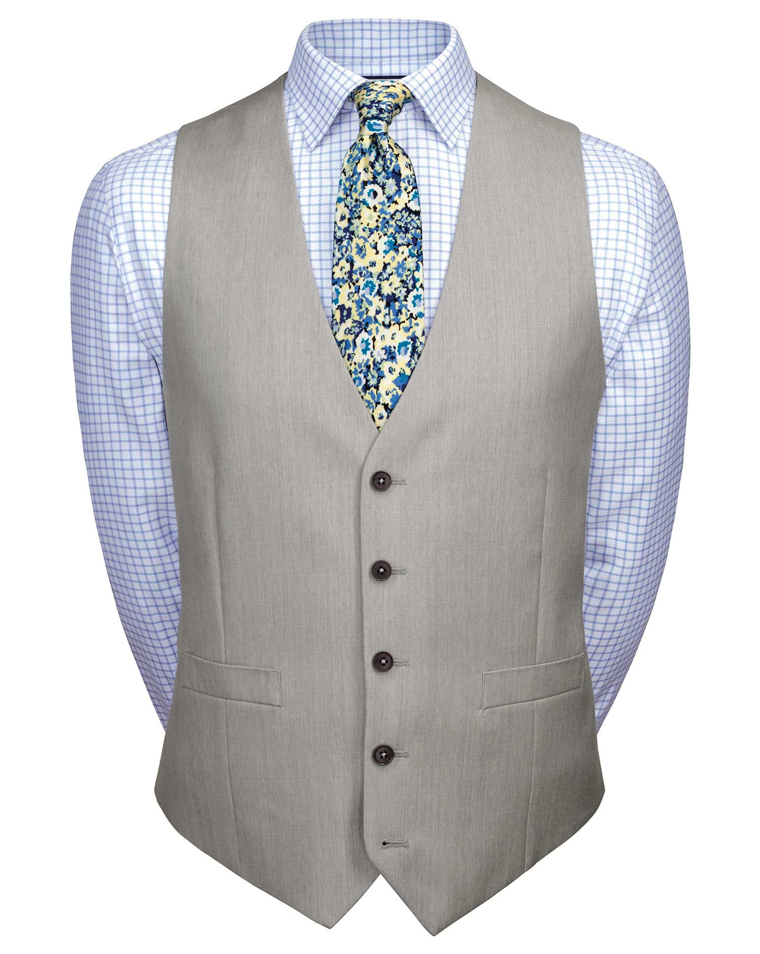 Light Grey Adjustable Fit Twill Business Suit Wool Waistcoat Size w40 by Charles Tyrwhitt