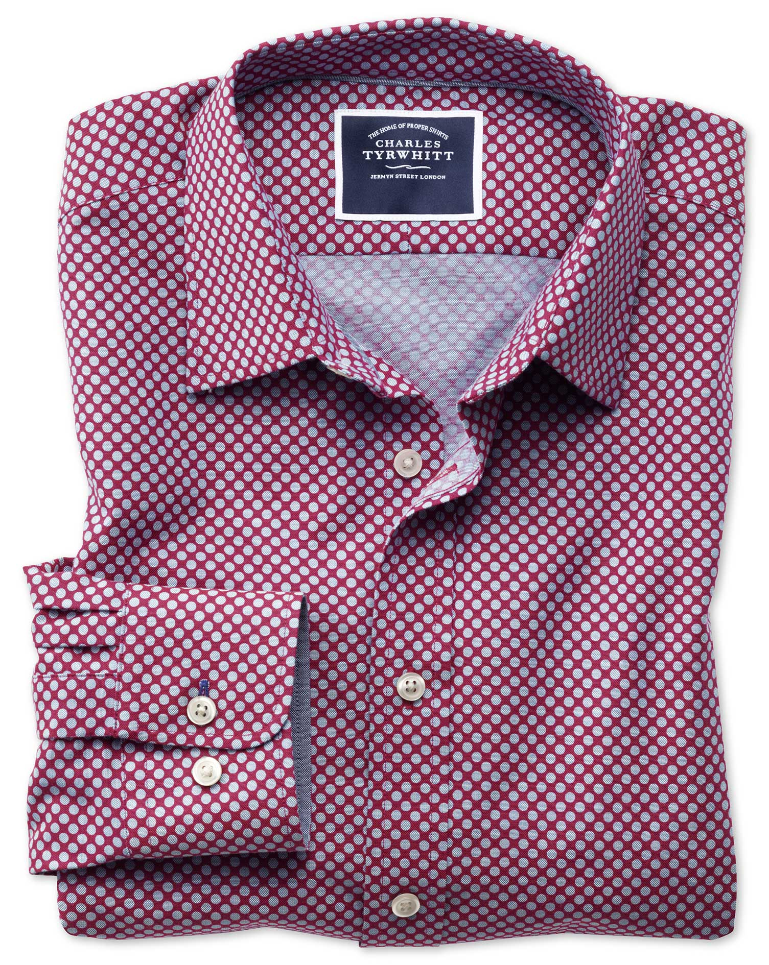 Slim Fit Non-Iron Chambray Berry Spot Print Cotton Shirt Single Cuff Size XS by Charles Tyrwhitt