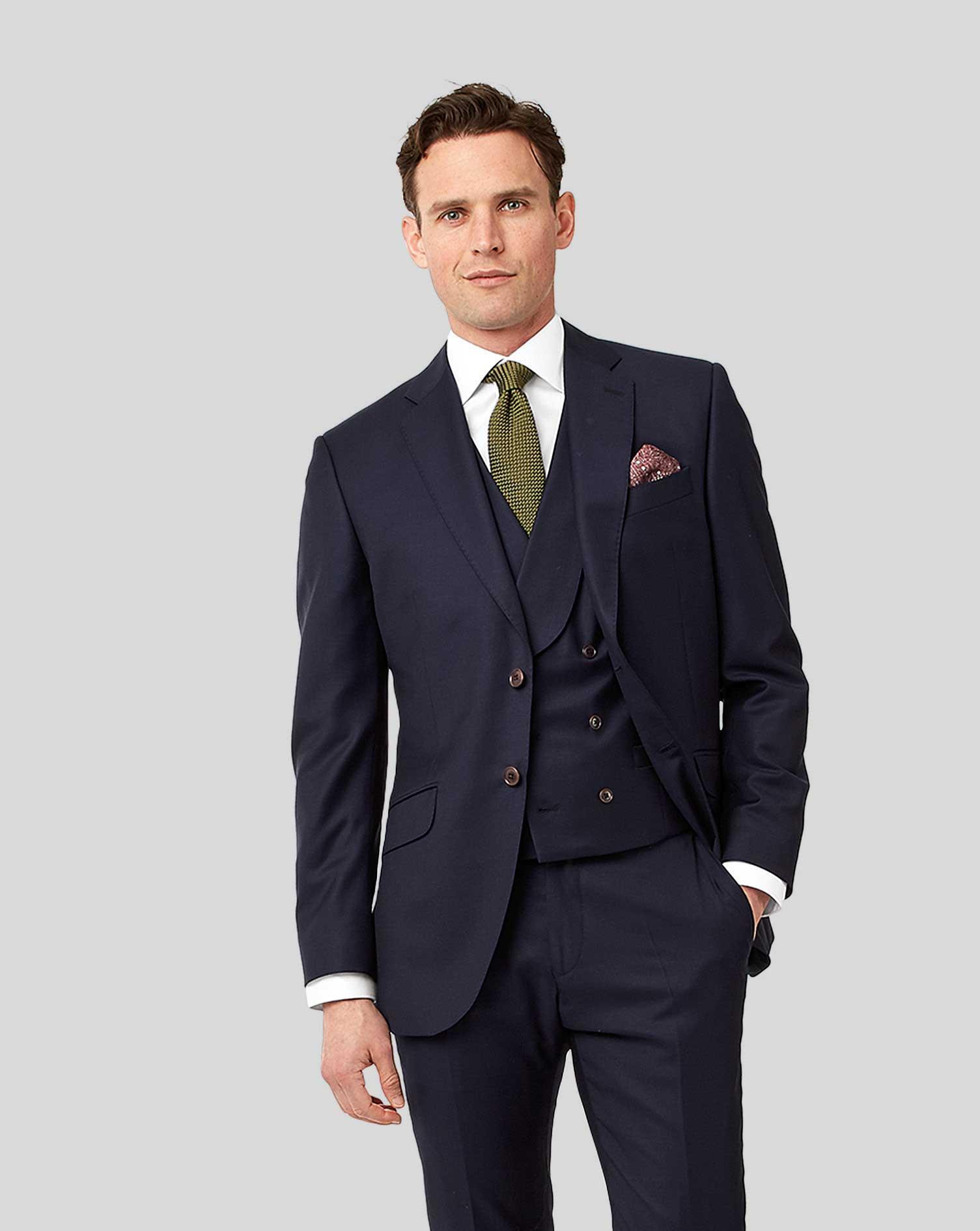 Navy Slim Fit Twill Italian Luxury Suit Wool Jacket Size 46 Regular by Charles Tyrwhitt