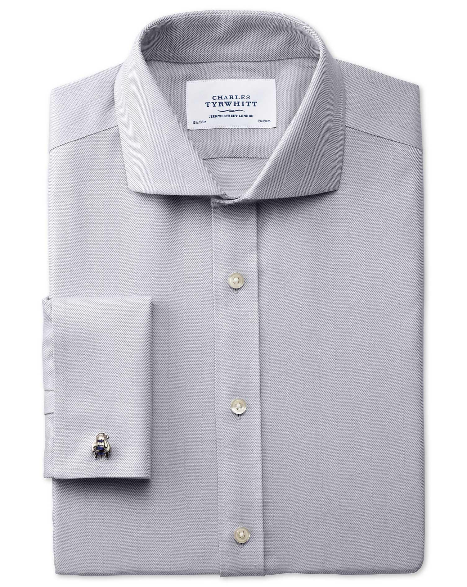 Extra Slim Fit Cutaway Collar Non-Iron Herringbone Grey Cotton Formal Shirt Double Cuff Size 15.5/35