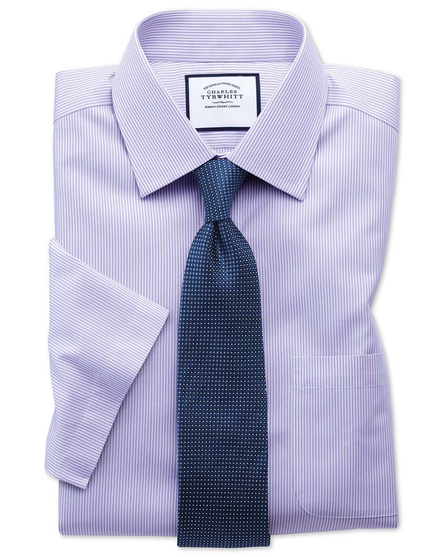 Classic fit non iron bengal stripe short sleeve lilac for What is a non iron shirt