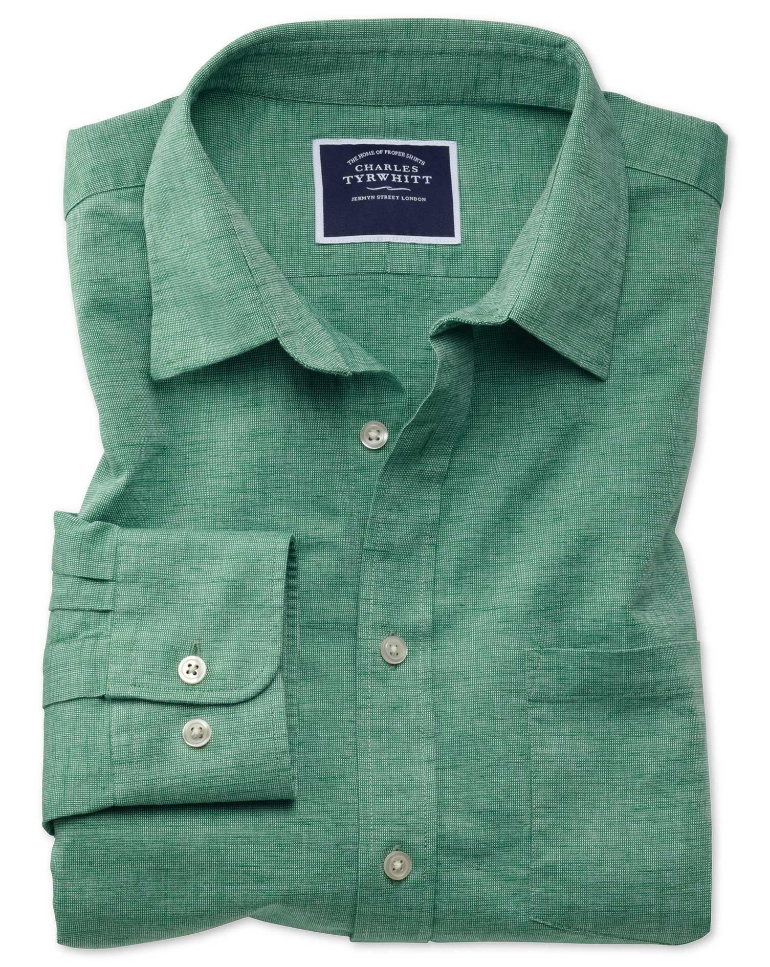 Slim Fit Cotton Linen Green Plain Shirt Single Cuff Size Small by Charles Tyrwhitt