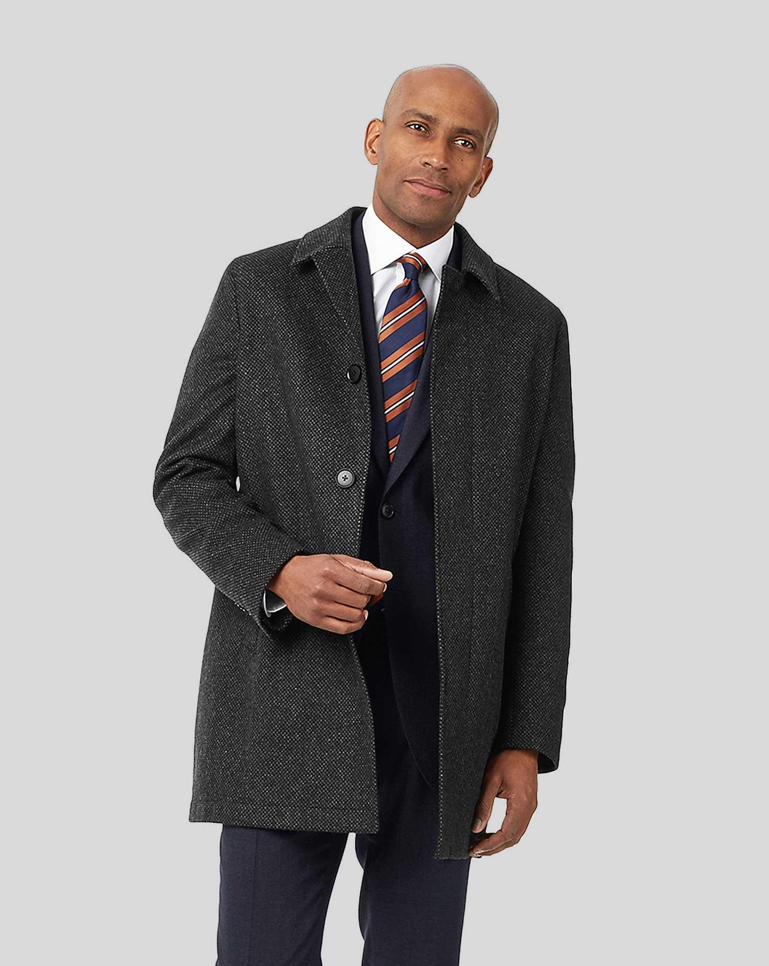 Image of Charles Tyrwhitt Birdseye Car Wool Coat - Charcoal Size 46 Regular by Charles Tyrwhitt