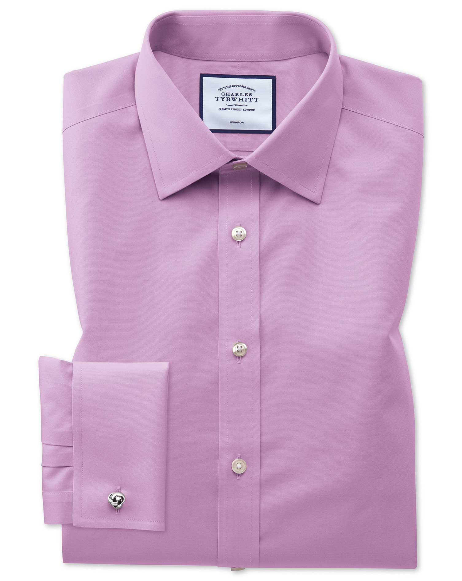 Classic Fit Non-Iron Violet Poplin Cotton Formal Shirt Single Cuff Size 18/35 by Charles Tyrwhitt