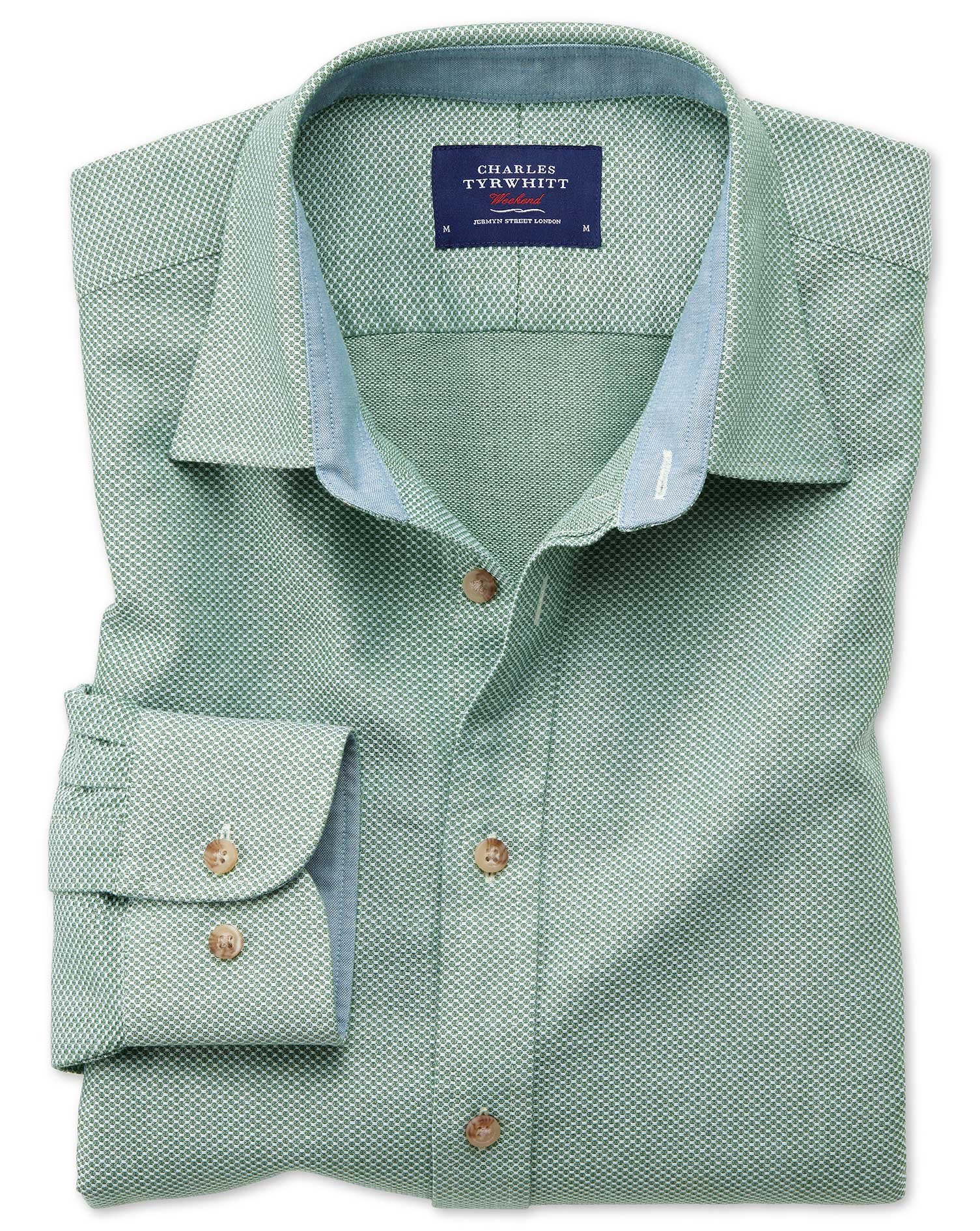 Classic Fit Washed Textured Mid Green Cotton Shirt Single Cuff Size Large by Charles Tyrwhitt