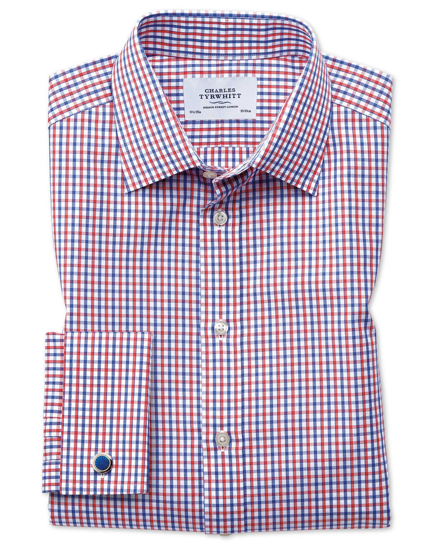 Classic Fit Two Colour Check Red and Blue Cotton Formal Shirt Single Cuff Size 16/34 by Charles Tyrw