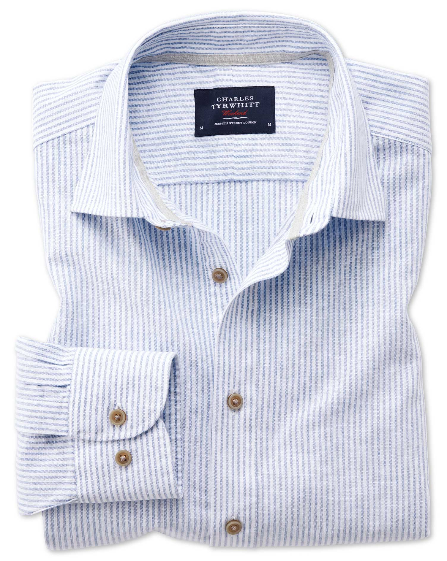 Slim Fit Popover Mid Blue Stripe Cotton Shirt Single Cuff Size Large by Charles Tyrwhitt