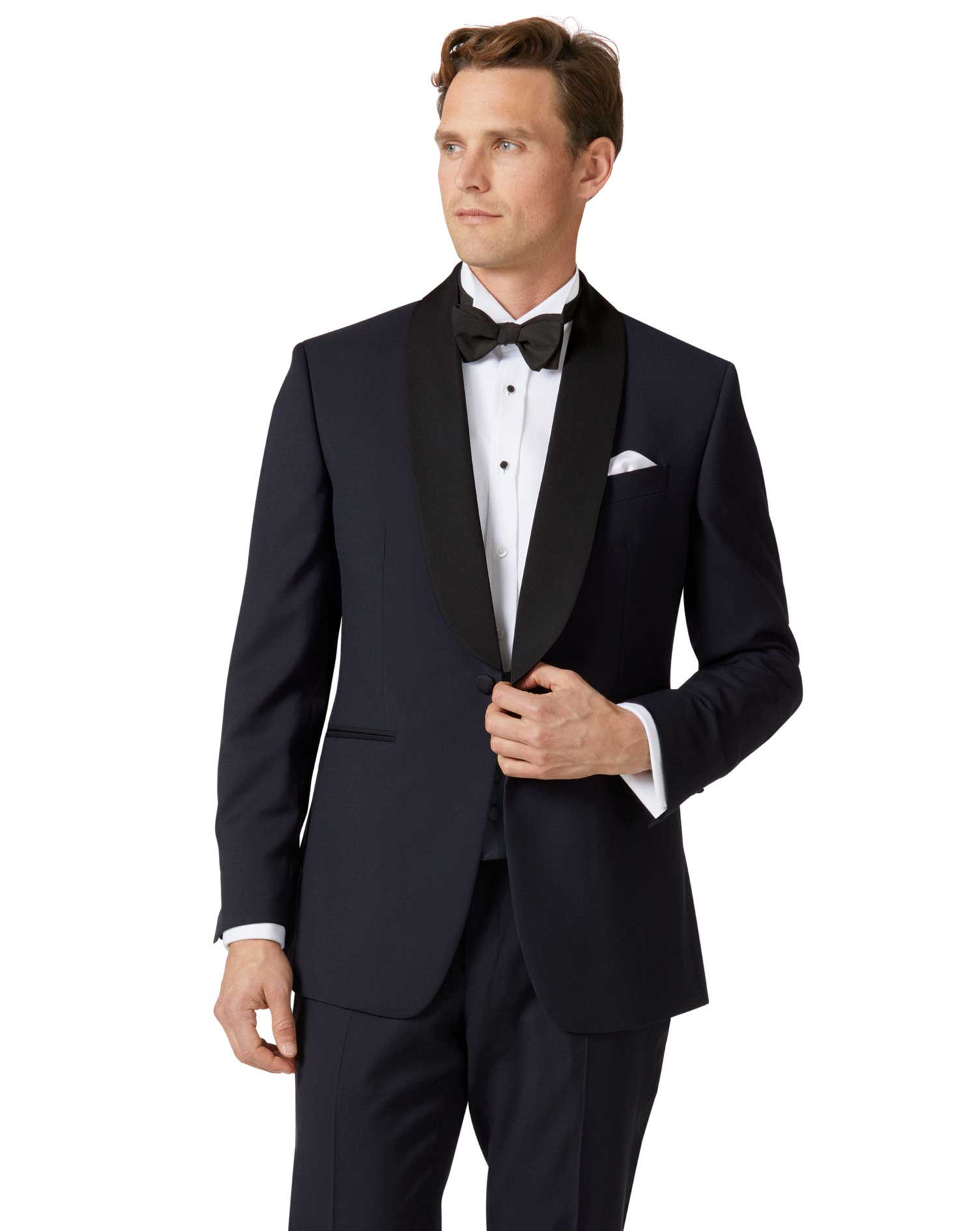 Midnight Blue Slim Fit Shawl Collar Tuxedo Wool Jacket Size 40 Short by Charles Tyrwhitt