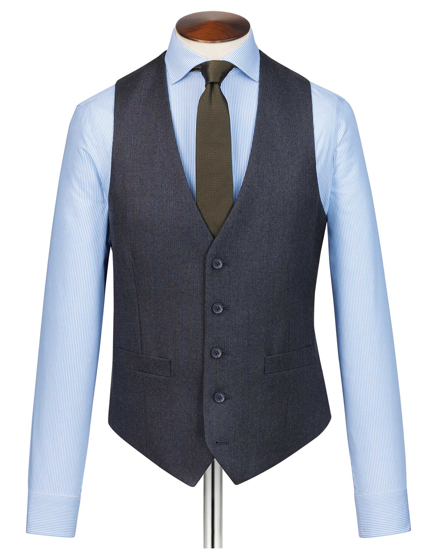 Charcoal and Blue Adjustable Fit Stripe Flannel Suit Wool Waistcoat Size w36 by Charles Tyrwhitt