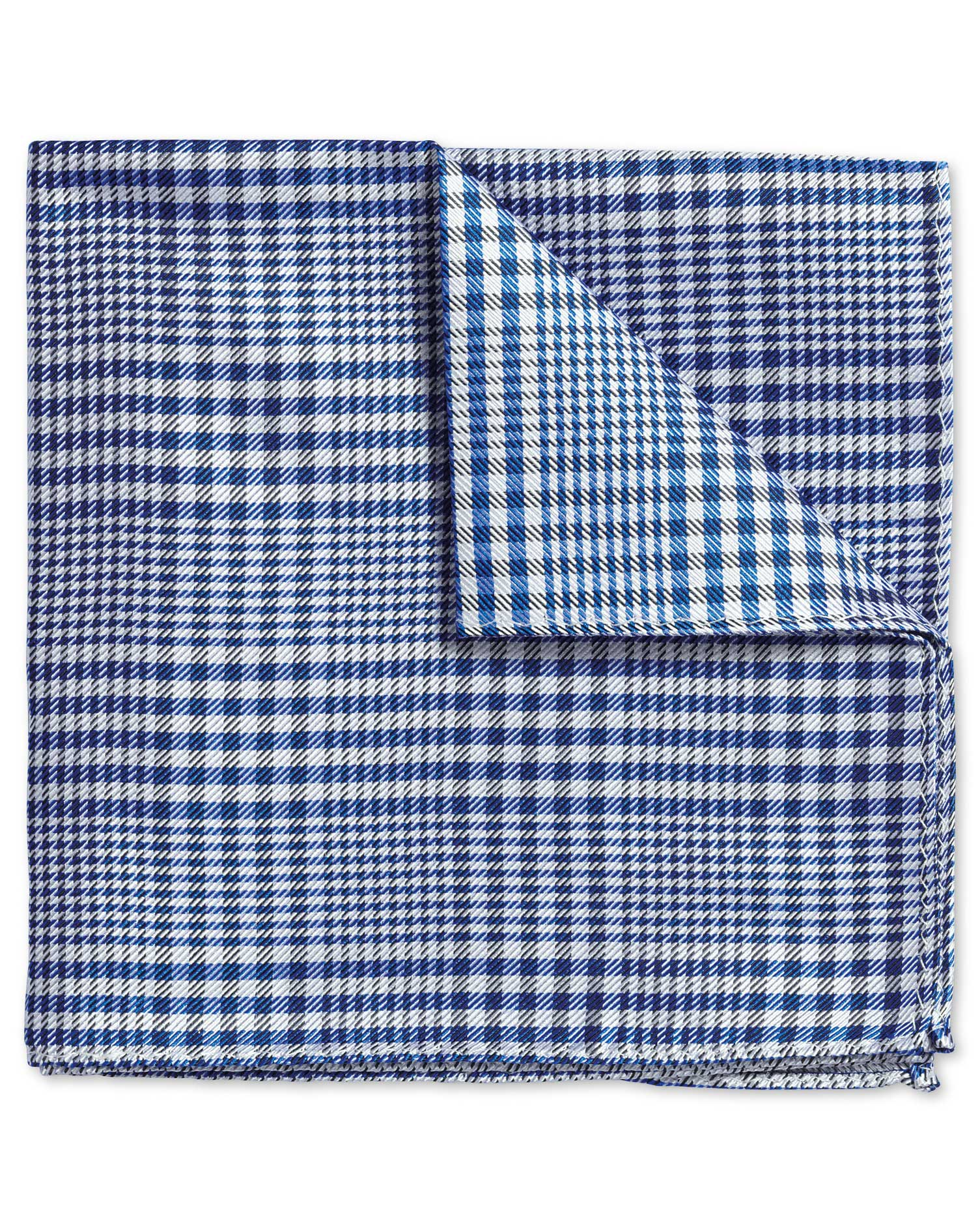 Royal Prince Of Wales Check Classic Silk Pocket Square Size OSFA by Charles Tyrwhitt