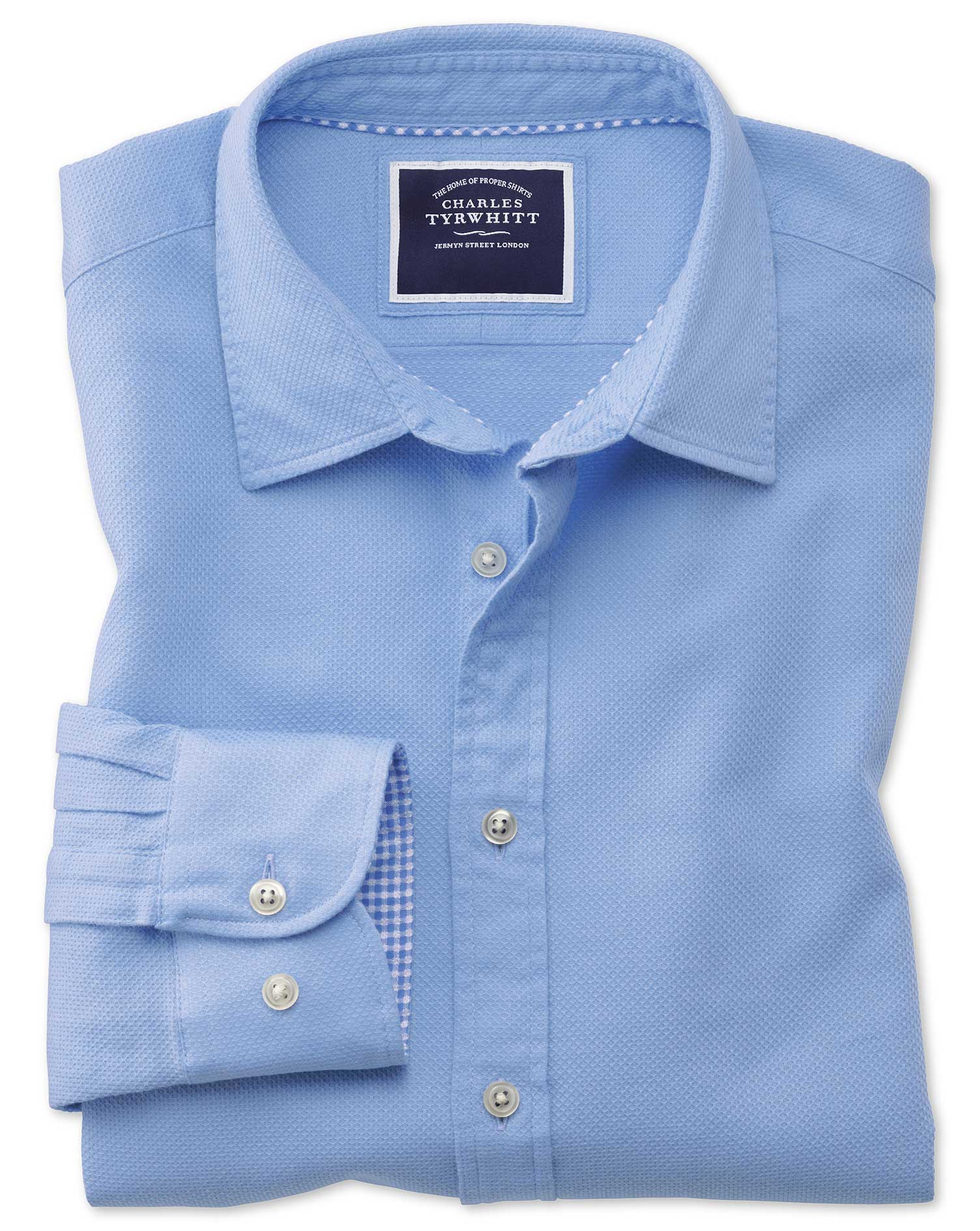 Classic Fit Washed Bright Blue Honeycomb Textured Cotton Shirt Single Cuff Size Large by Charles Tyr
