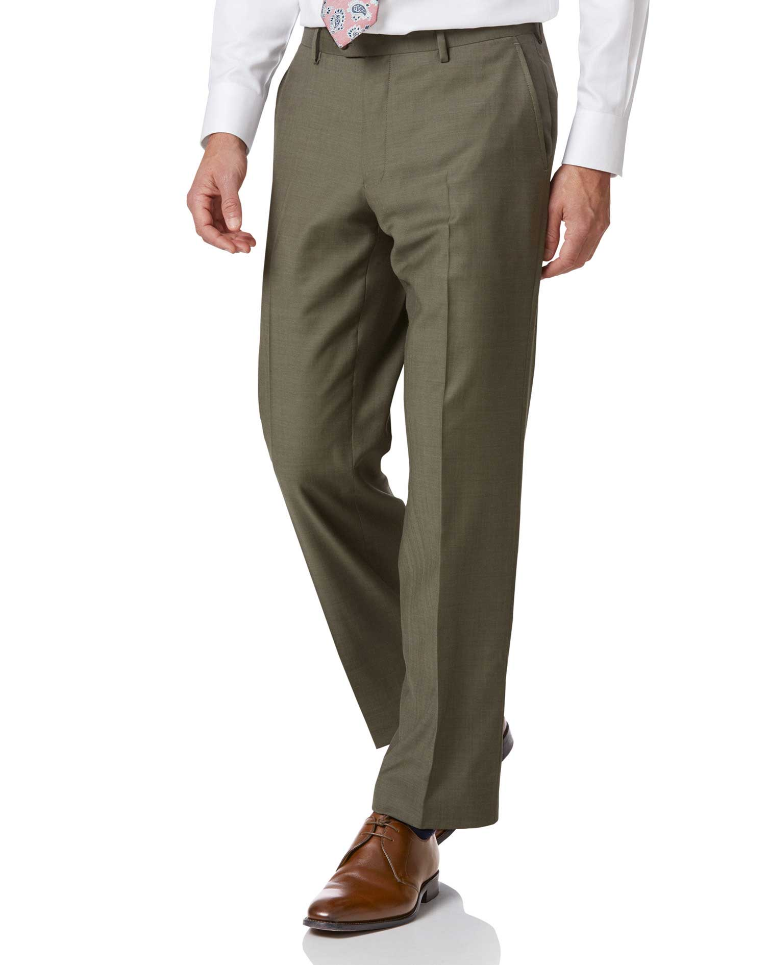 Olive Classic Fit Twill Business Suit Trousers Size W38 L32 by Charles Tyrwhitt