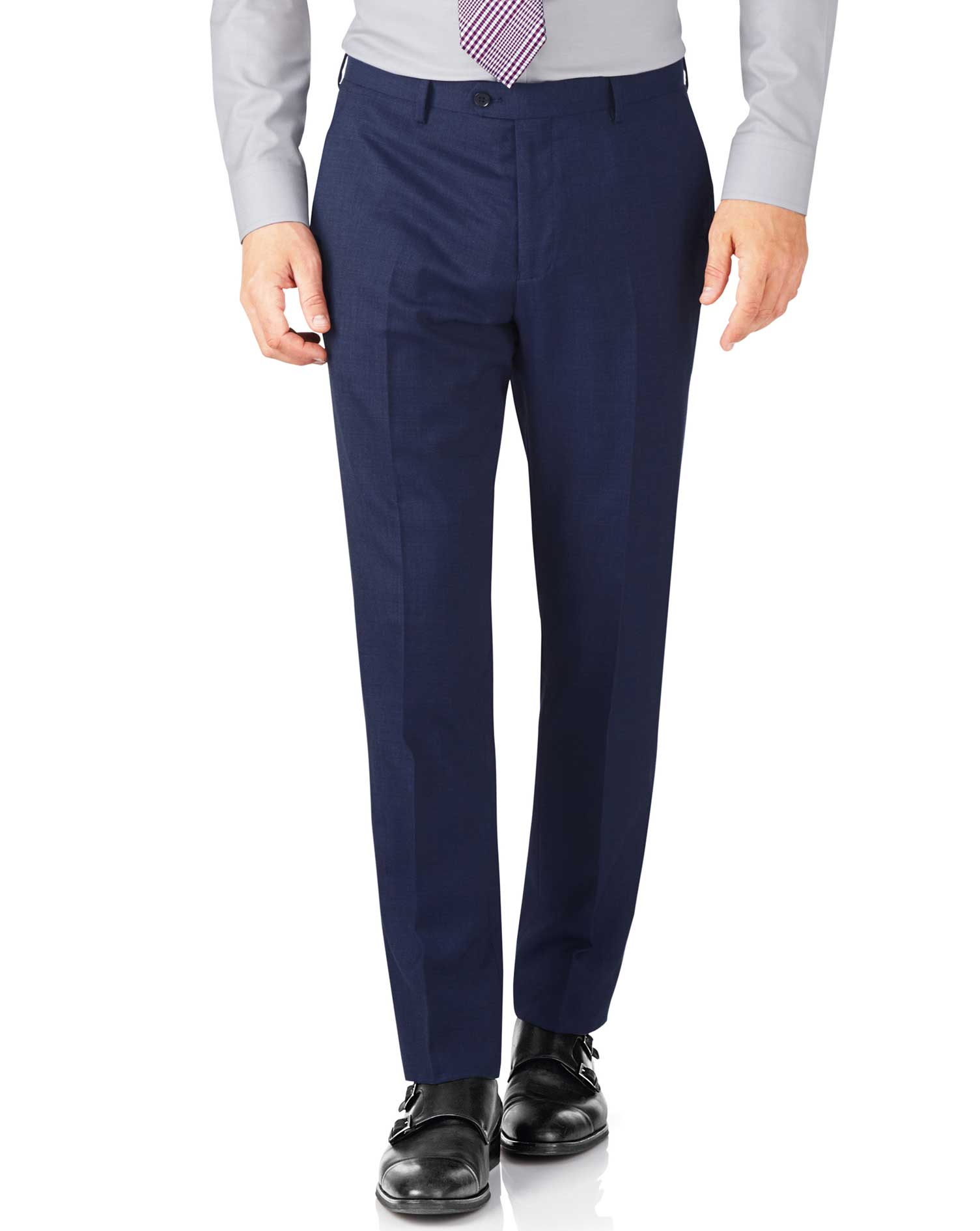 Indigo Slim Fit End-On-End Business Suit Trouser Size W42 L38 by Charles Tyrwhitt