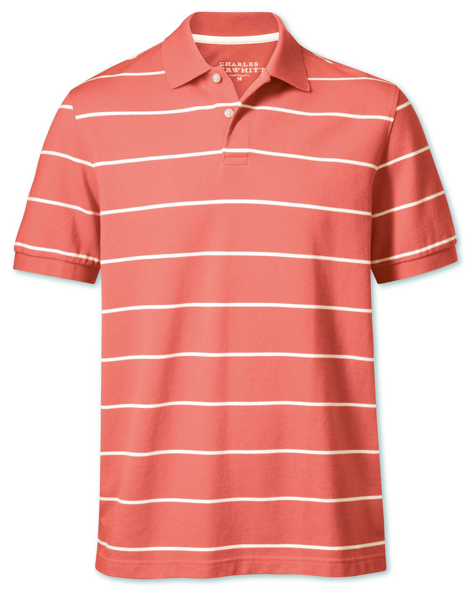 Coral and White Stripe Pique Cotton Polo Size Medium by Charles Tyrwhitt