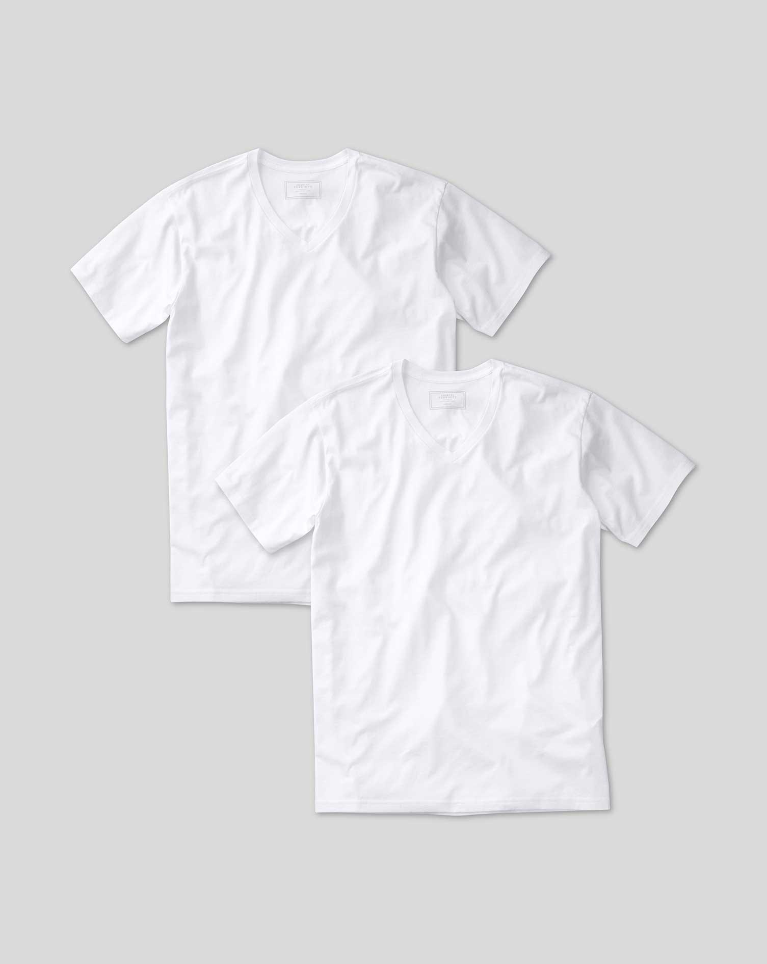 Image of Charles Tyrwhitt 2 Pack White V-Neck Cotton Undershirt T-Shirts Size Large by Charles Tyrwhitt