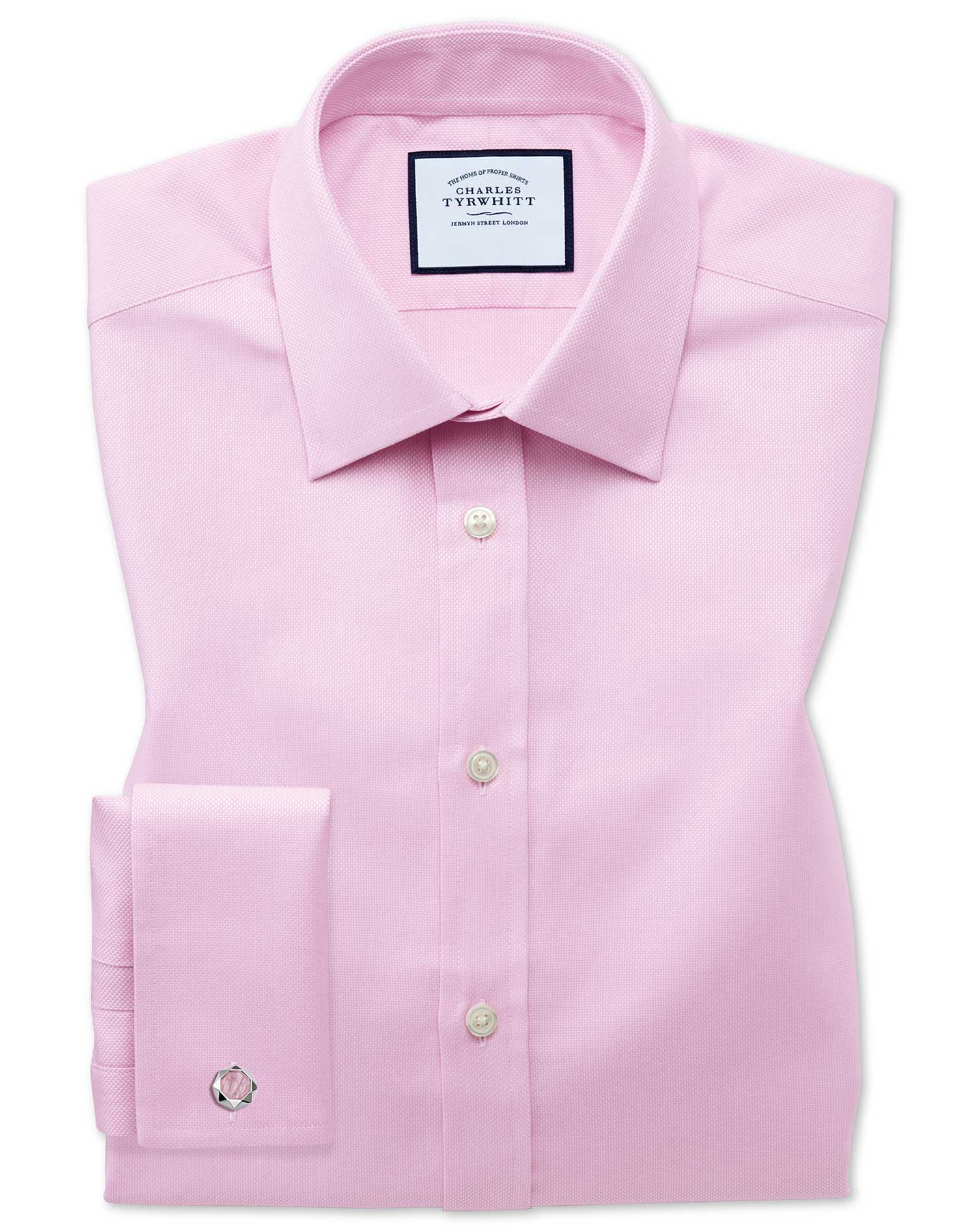 Slim Fit Egyptian Cotton Royal Oxford Pink Formal Shirt Double Cuff Size 16/36 by Charles Tyrwhitt