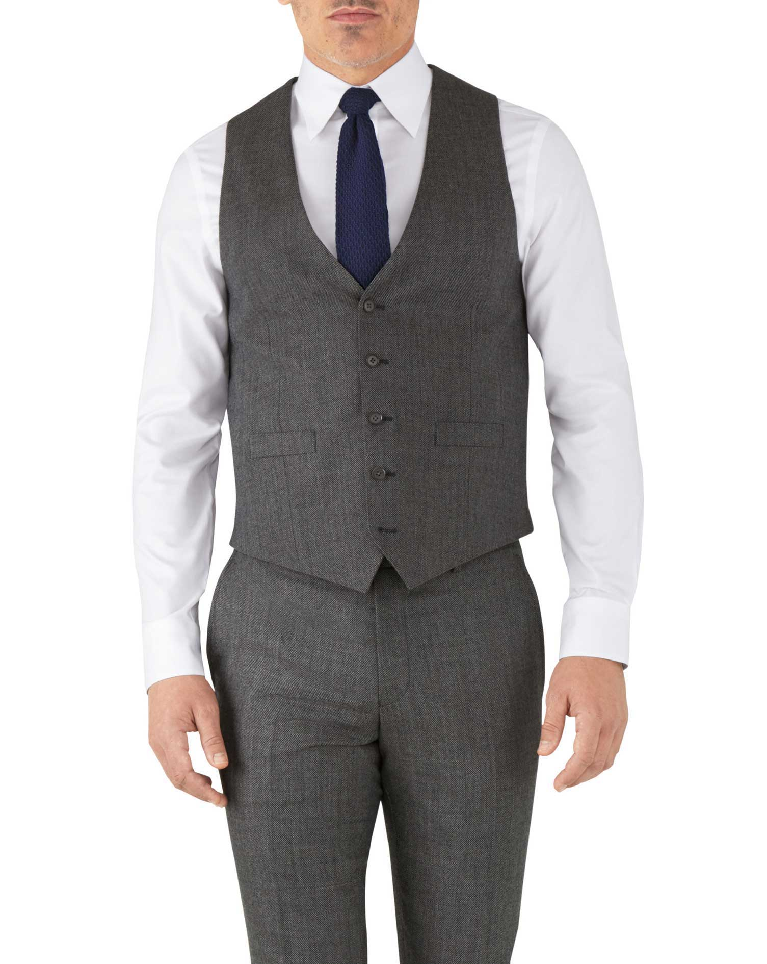 Silver Adjustable Fit Flannel Business Suit Wool Waistcoat Size w36 by Charles Tyrwhitt